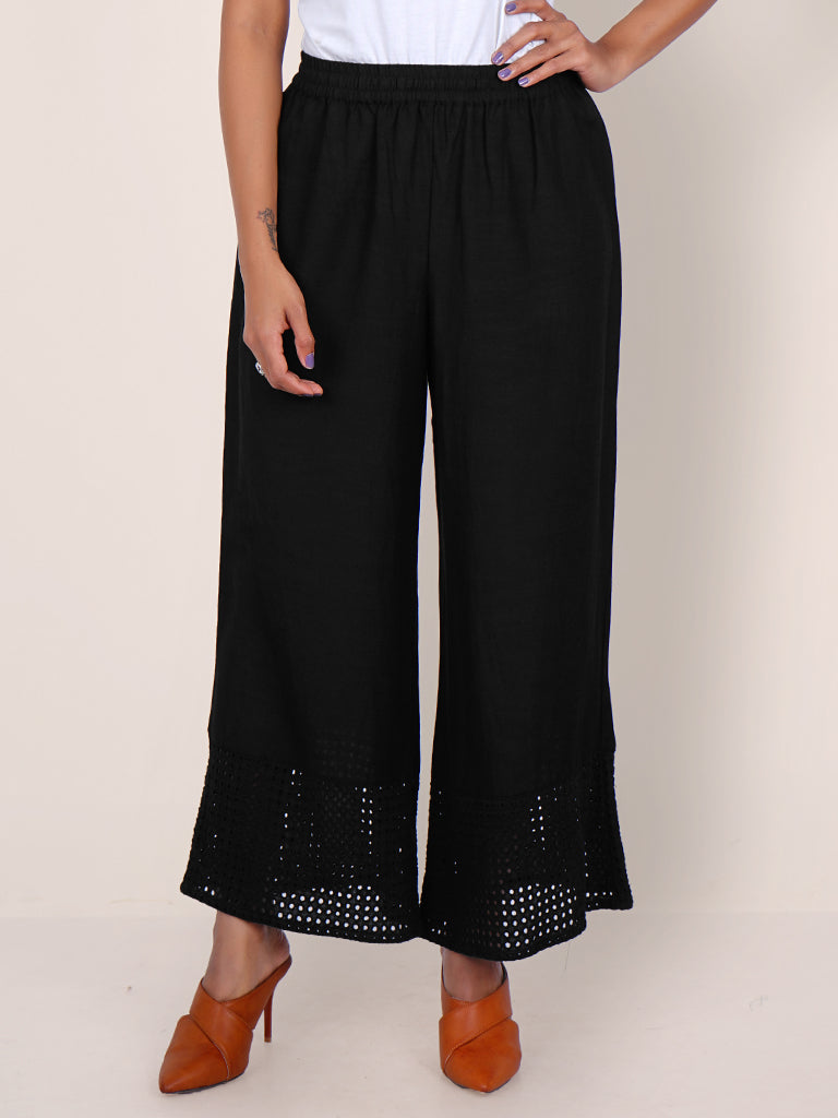 Resham Hakoba Cutwork Cotton Palazzo Pants – Black