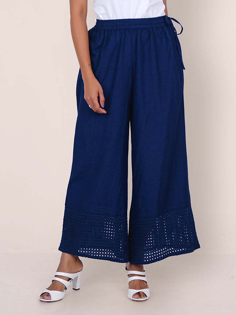 Resham Hakoba Cutwork Cotton Palazzo Pants – Royal Blue