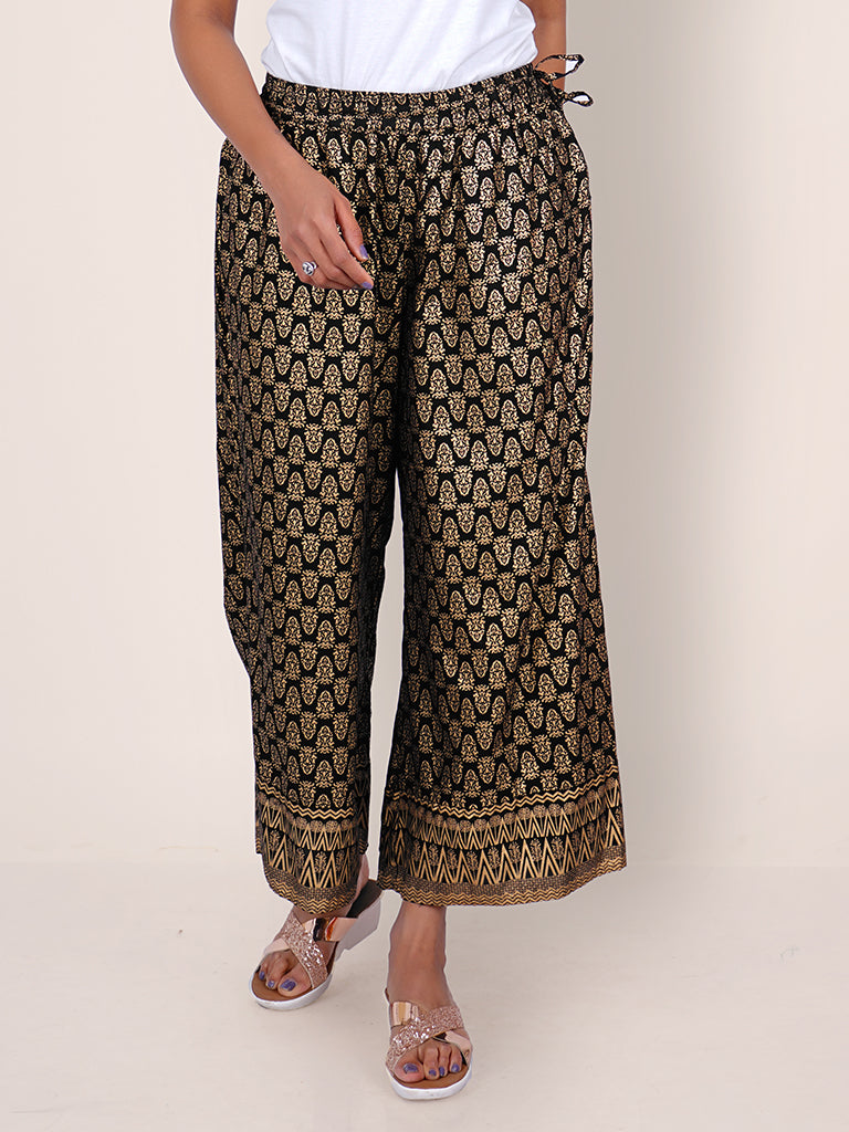 Golden Printed Ethnic Buti Embellished Flared Palazzo - Black