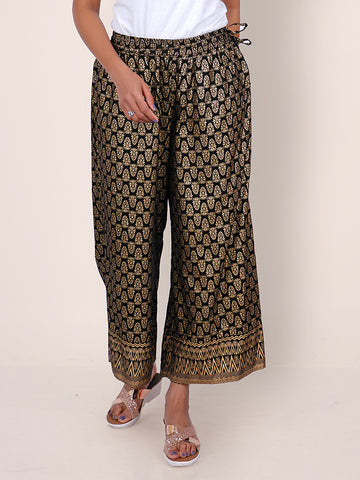 Golden Khadi Printed Ethnic Buti Embellished Flared Palazzo - Black