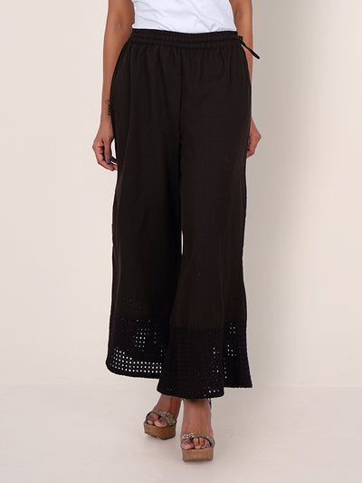 Resham Hakoba Cutwork Cotton Palazzo Pants – Dark Stone Grey