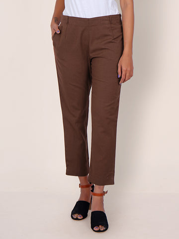 Tapered Comfort Fit Cottons Handloom Pants - Earthy Brown