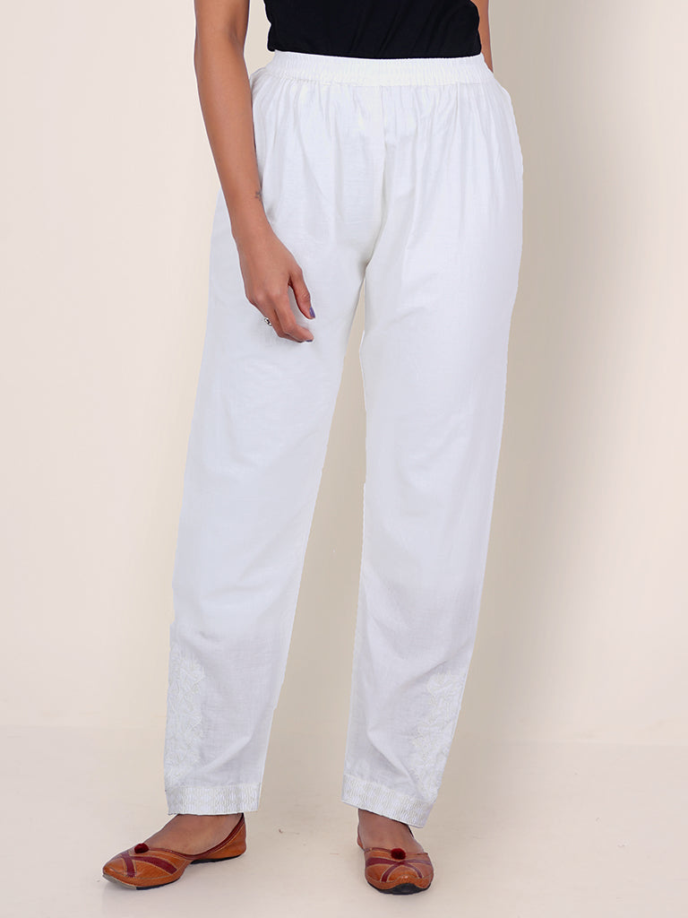 Satin Stitch Floral Self Embroidered Narrow Fit Pant – Off-White
