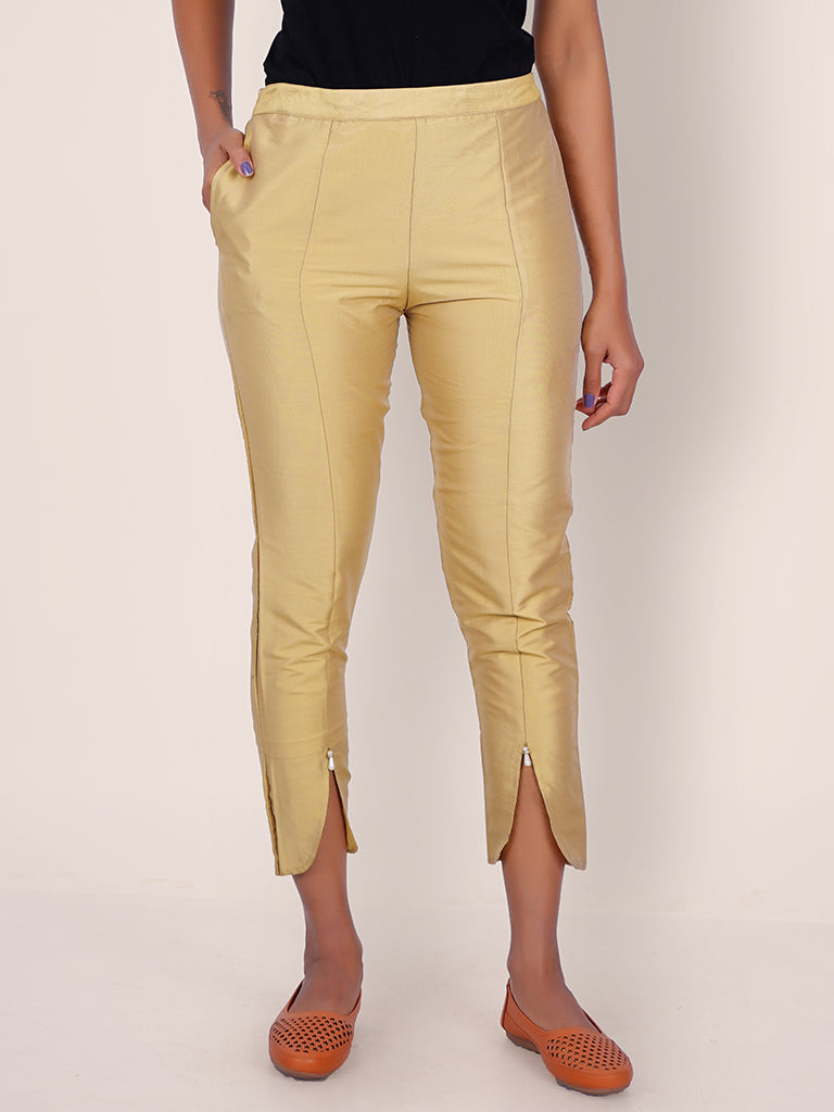 Panelled Tulip Hem Fitted Art Silk Pants