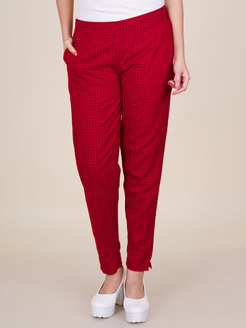 Chequered Print Fitted Cotton - Red