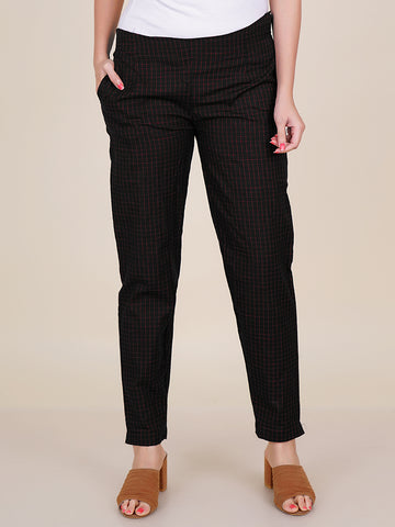 Chequered Print Fitted Cotton - Black