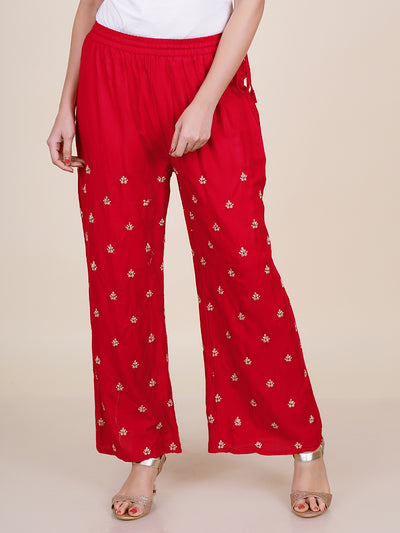 Tapered fit Cotton Lycra Stretchable Pants - Red