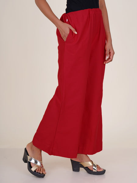 Cone Tassels Embellished Cotton Palazzo Pants - Red