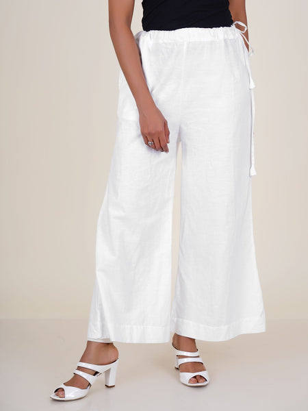 Cone Tassels Embellished Cotton Palazzo Pants