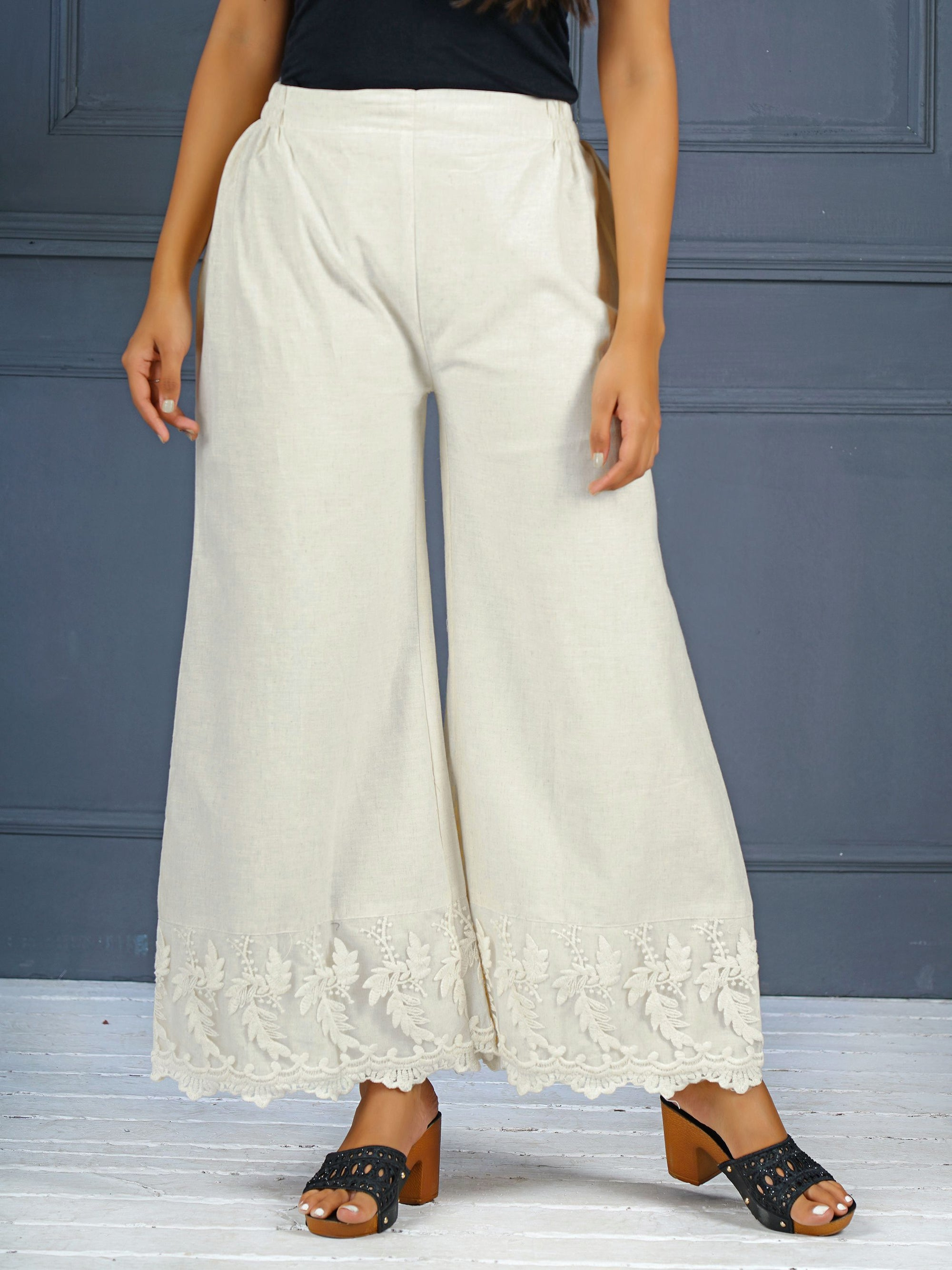 Off-White Flared Palazzo With Lace Embroidery And Lace Cutout
