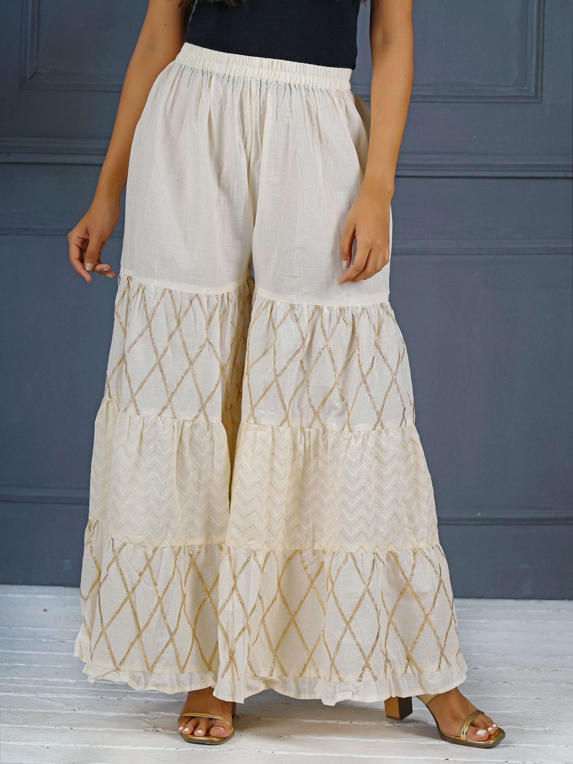 Tiered Palazzo Pants With Zig Zag Prints and Zari Embroidery