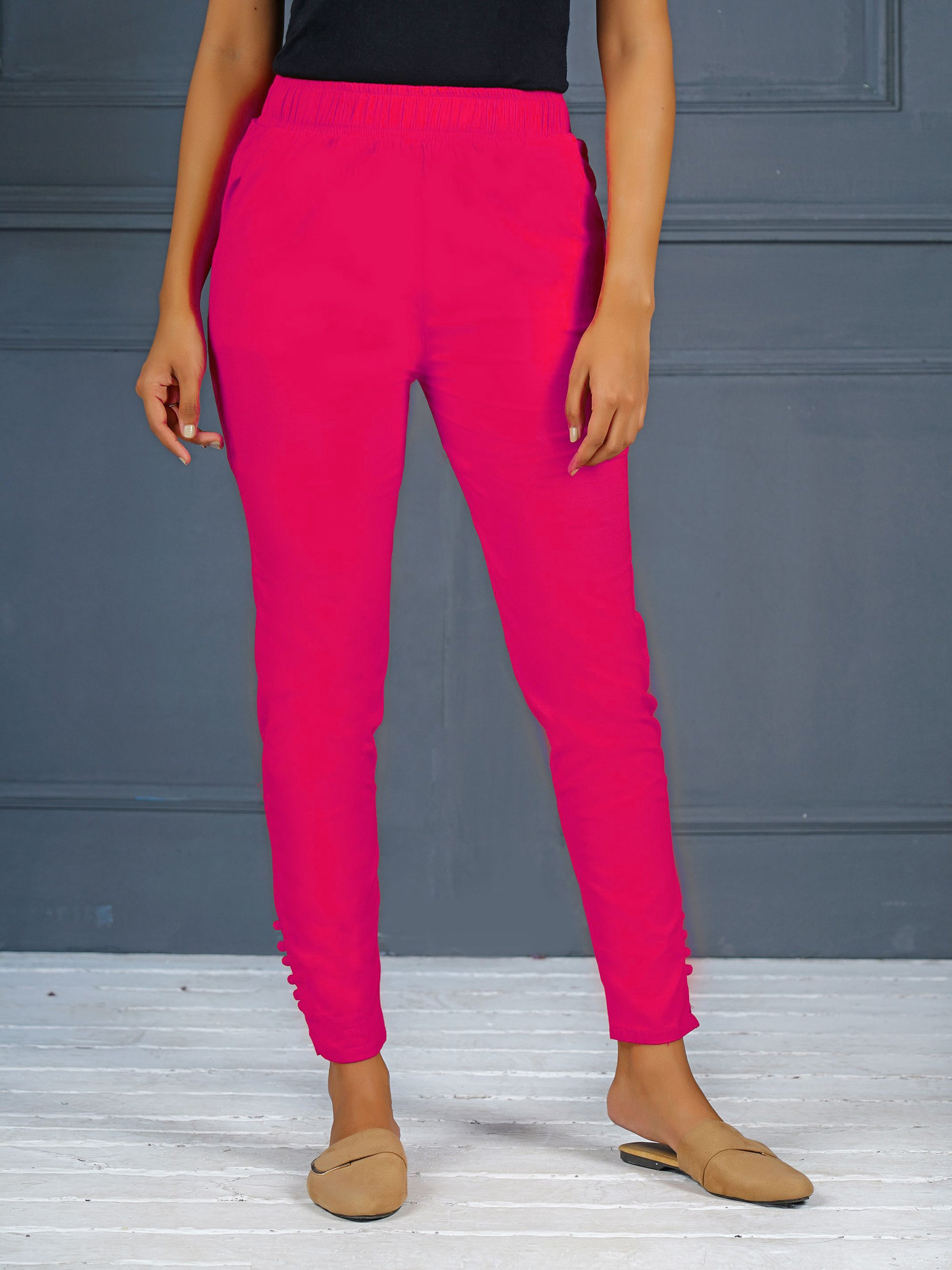 Solid Stretchable Narrow Fit Pant- Rani Pink