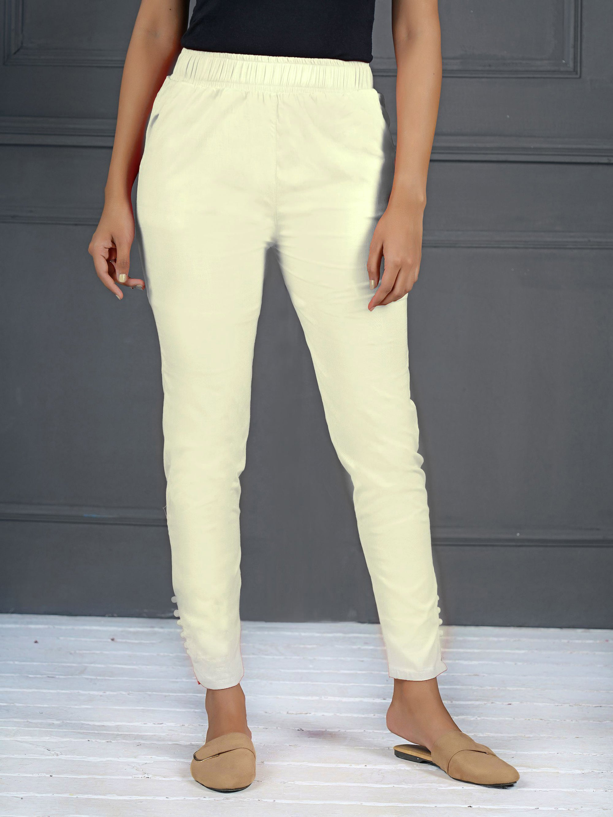 Solid Stretchable Narrow Fit Pant- Off-White