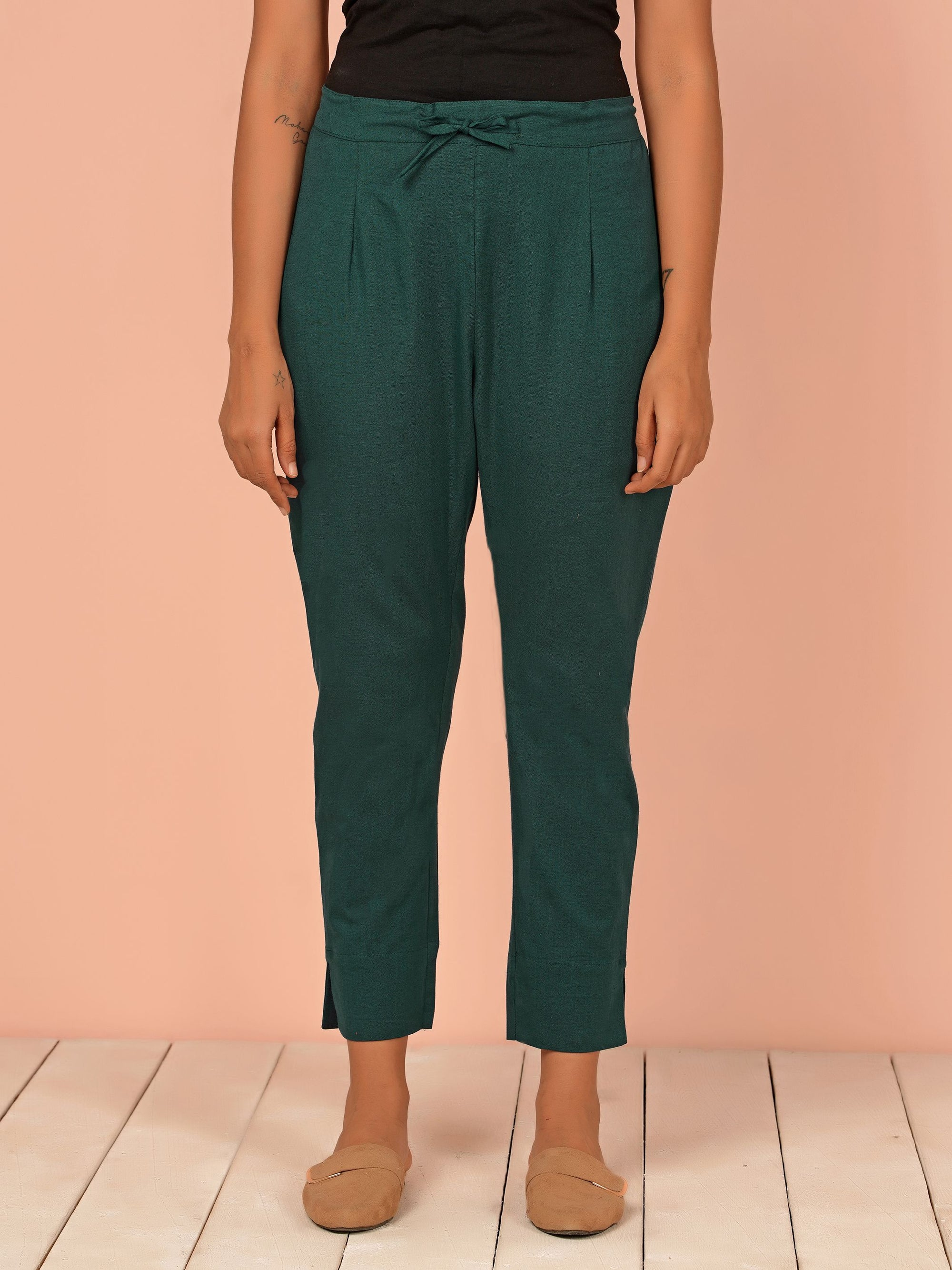 Floral Embroidered Schiffli Palazzo Pants - Green