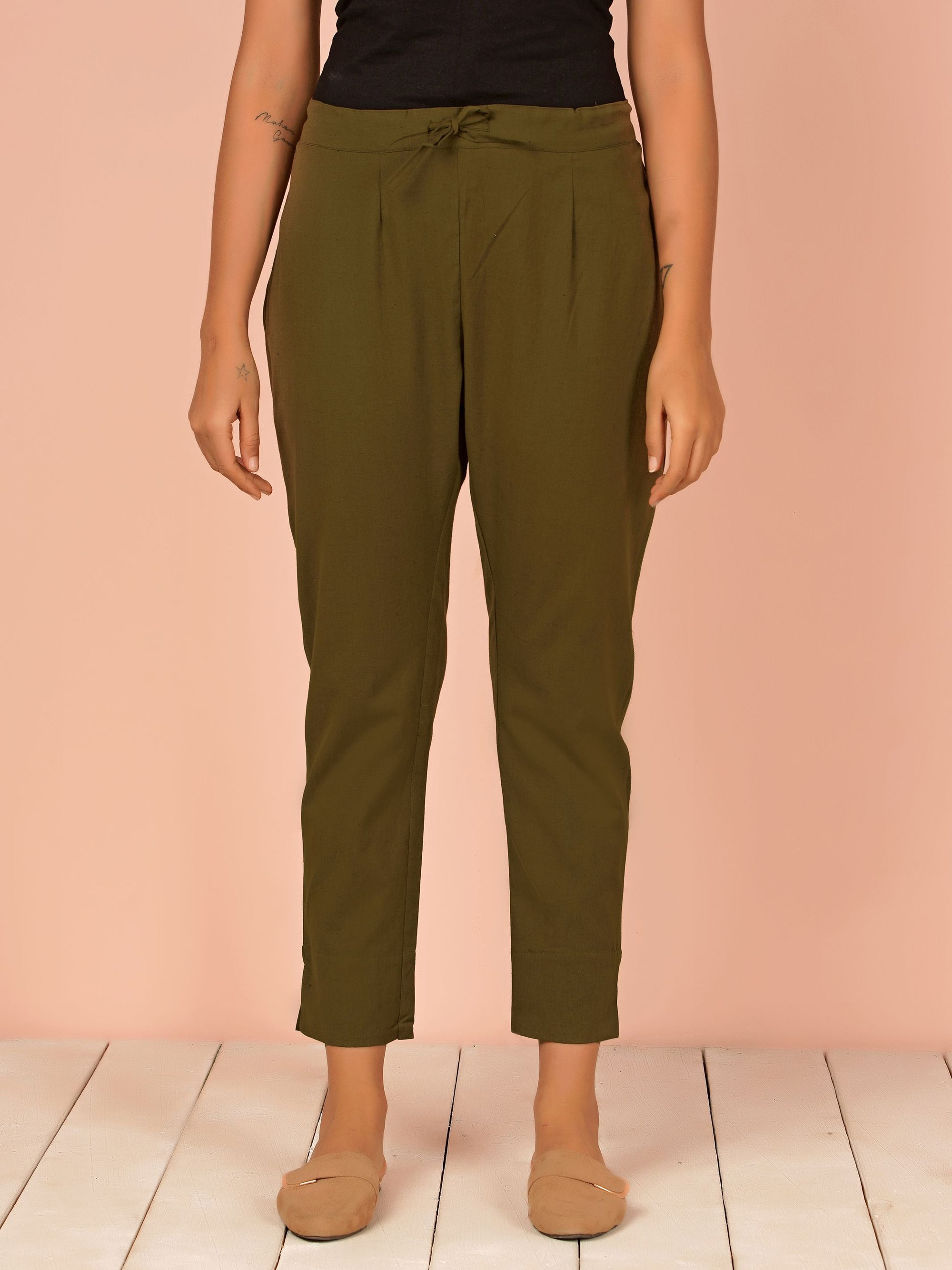 Tapered Cigarette Pants - Mehandi Green