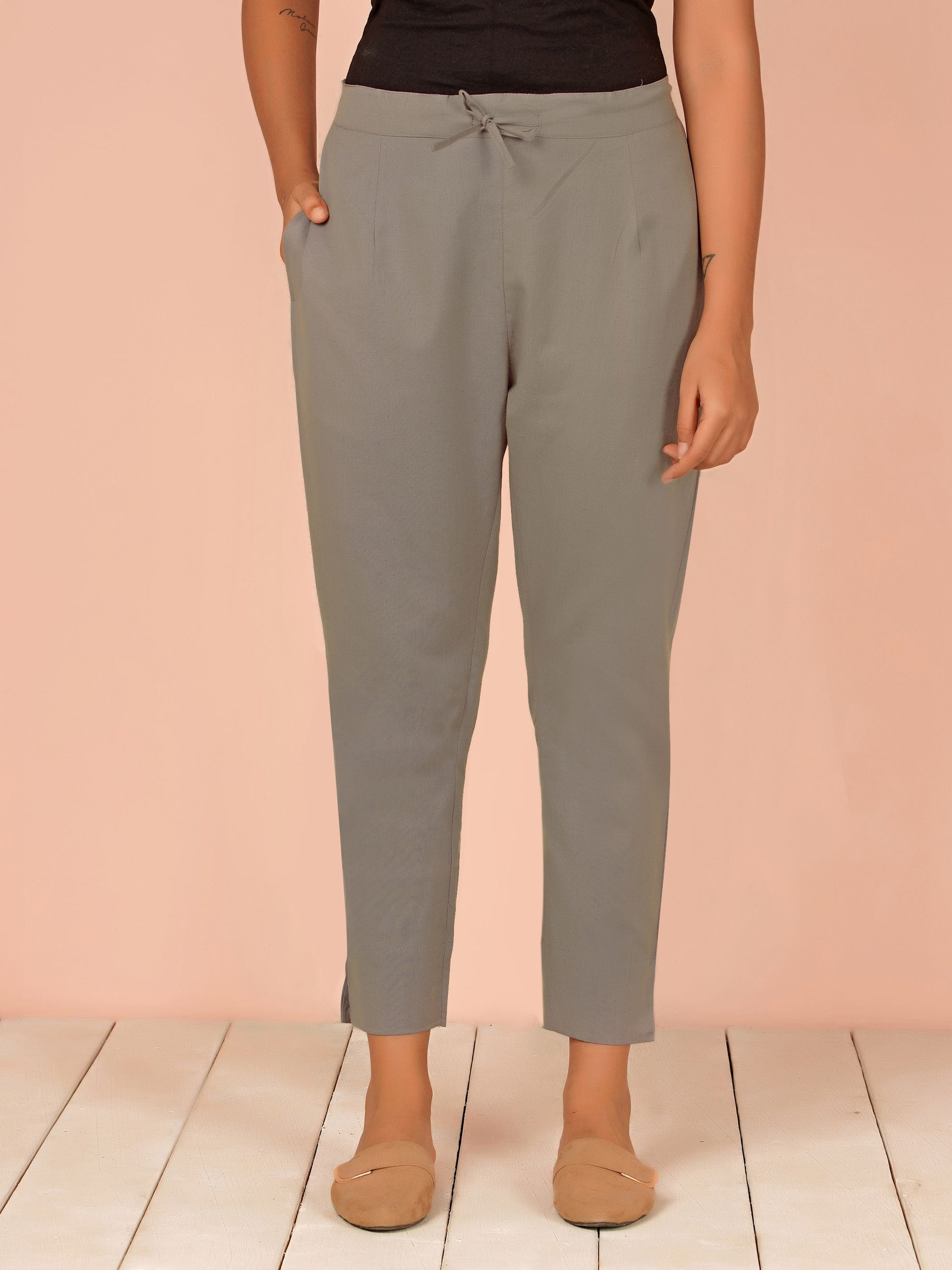 Tapered Cigarette Pants - Grey