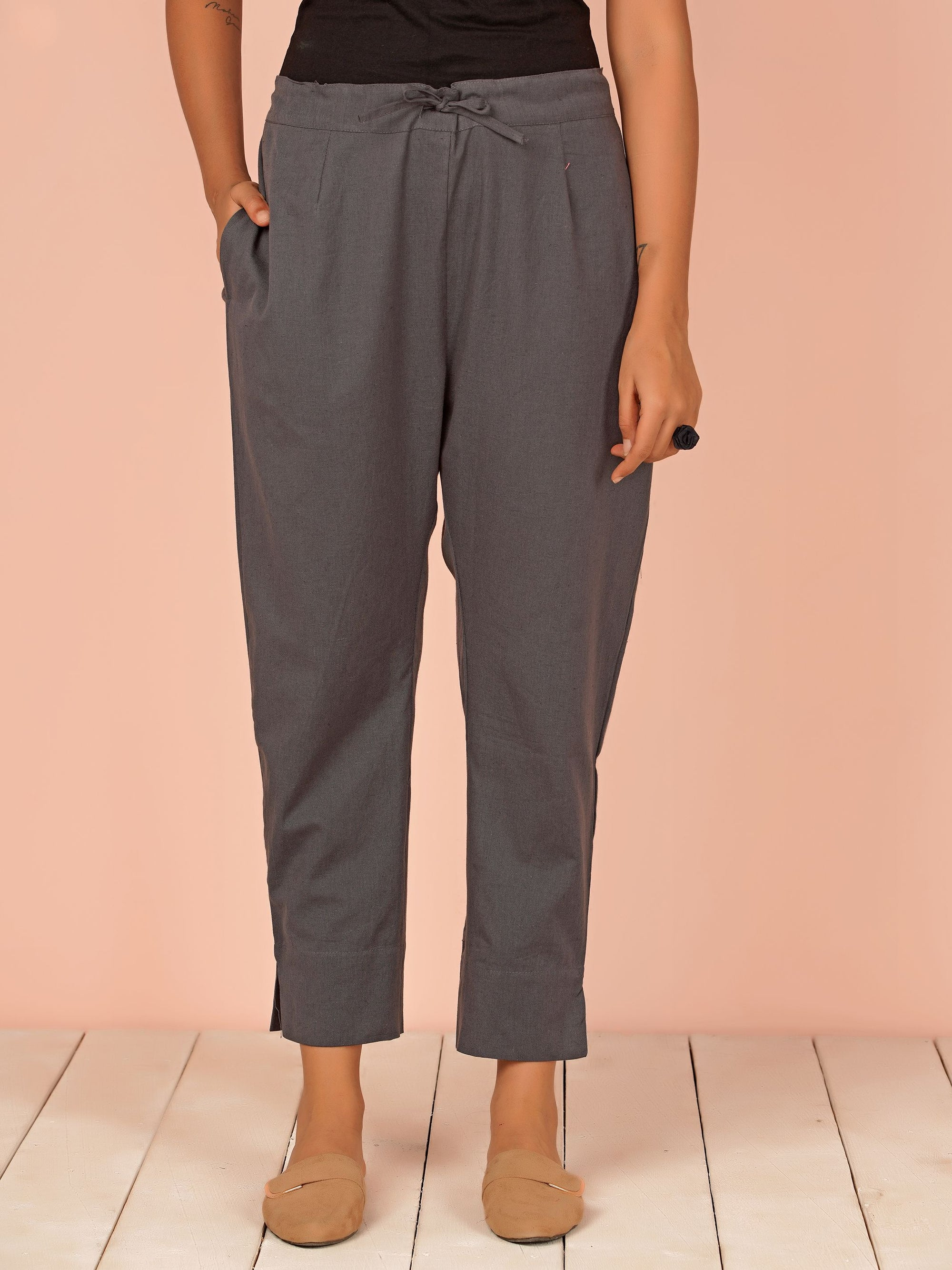 Tapered Cigarette Pants - Dark Grey