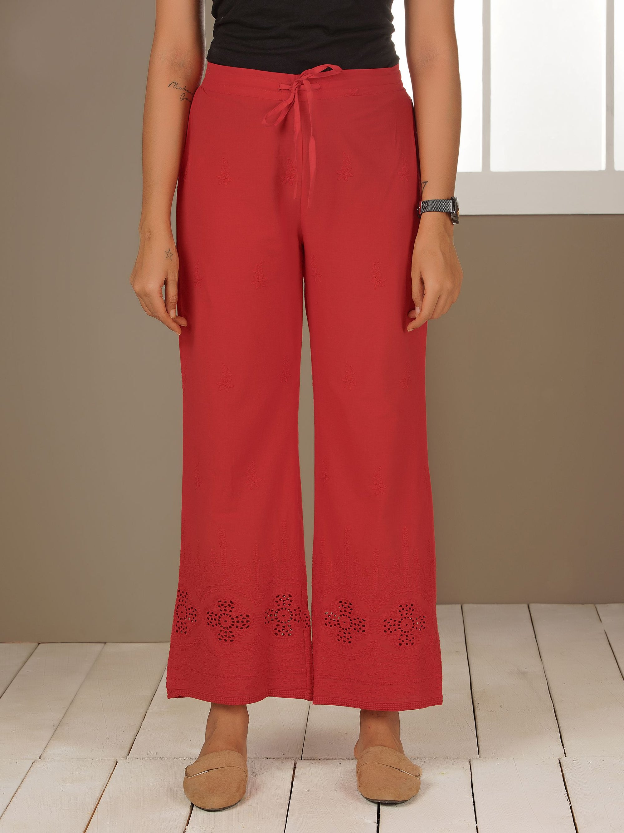 Floral Embroidered Schiffli Palazzo Pants - Red
