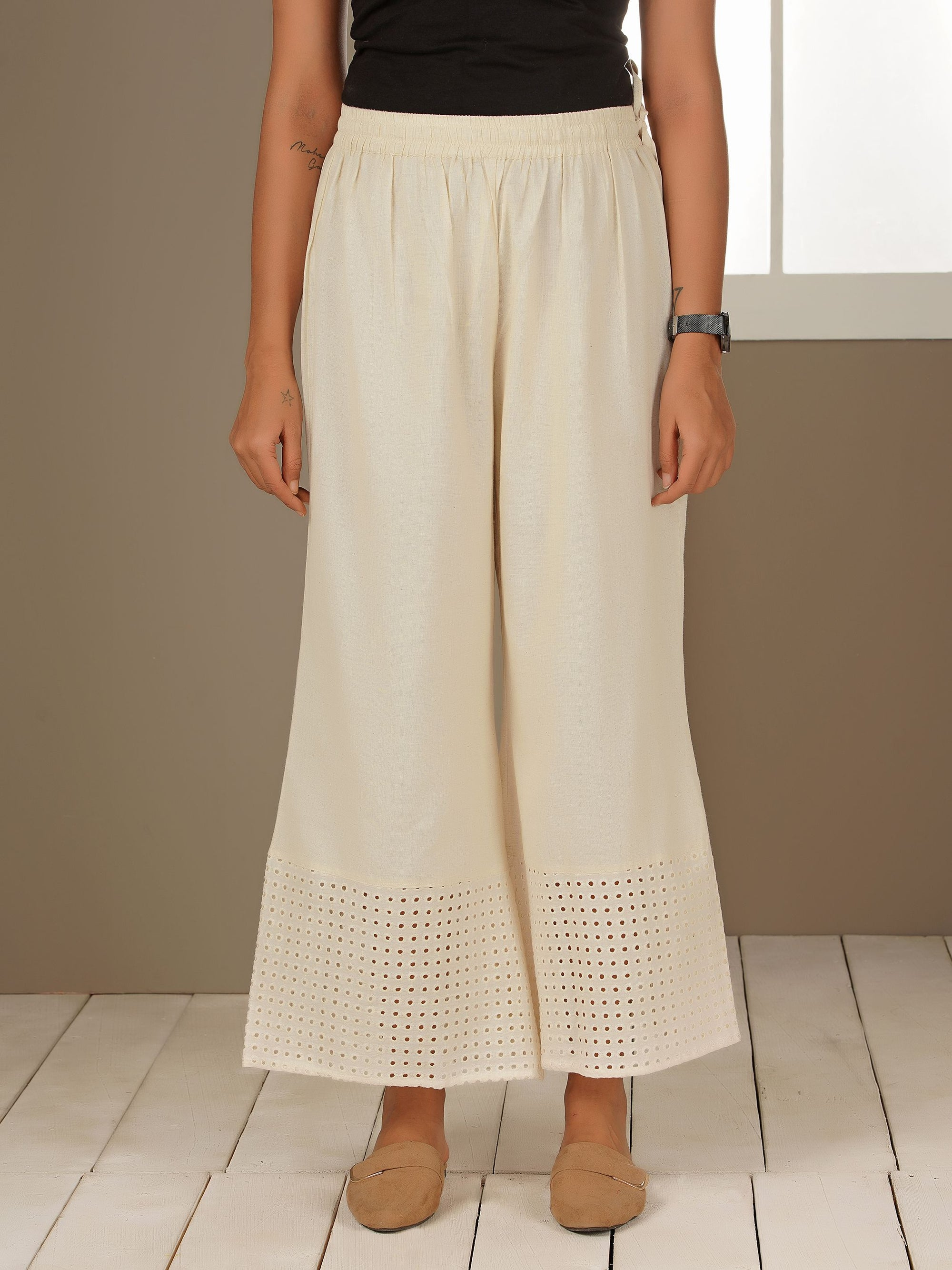Floral Embroidered Schiffli Palazzo Pants - White