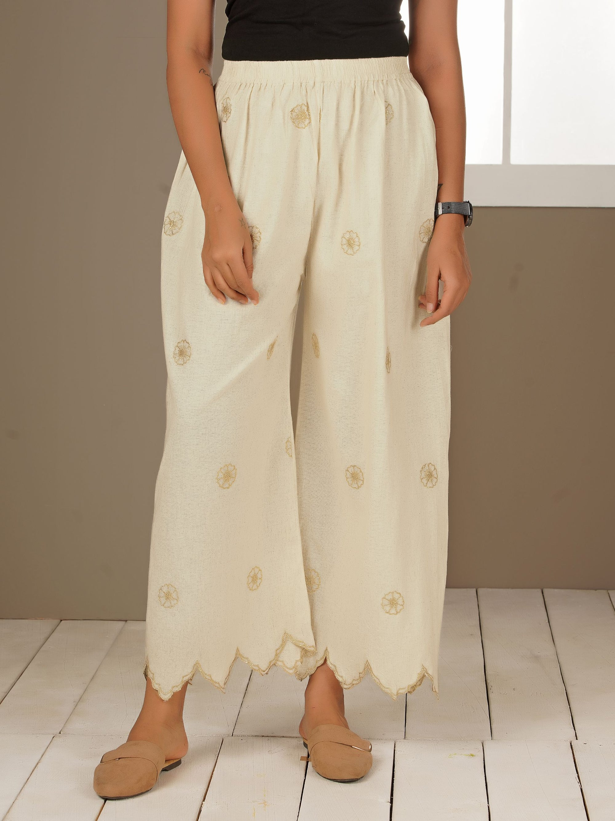 Zari & Scallop Embroidered Palazzo - White