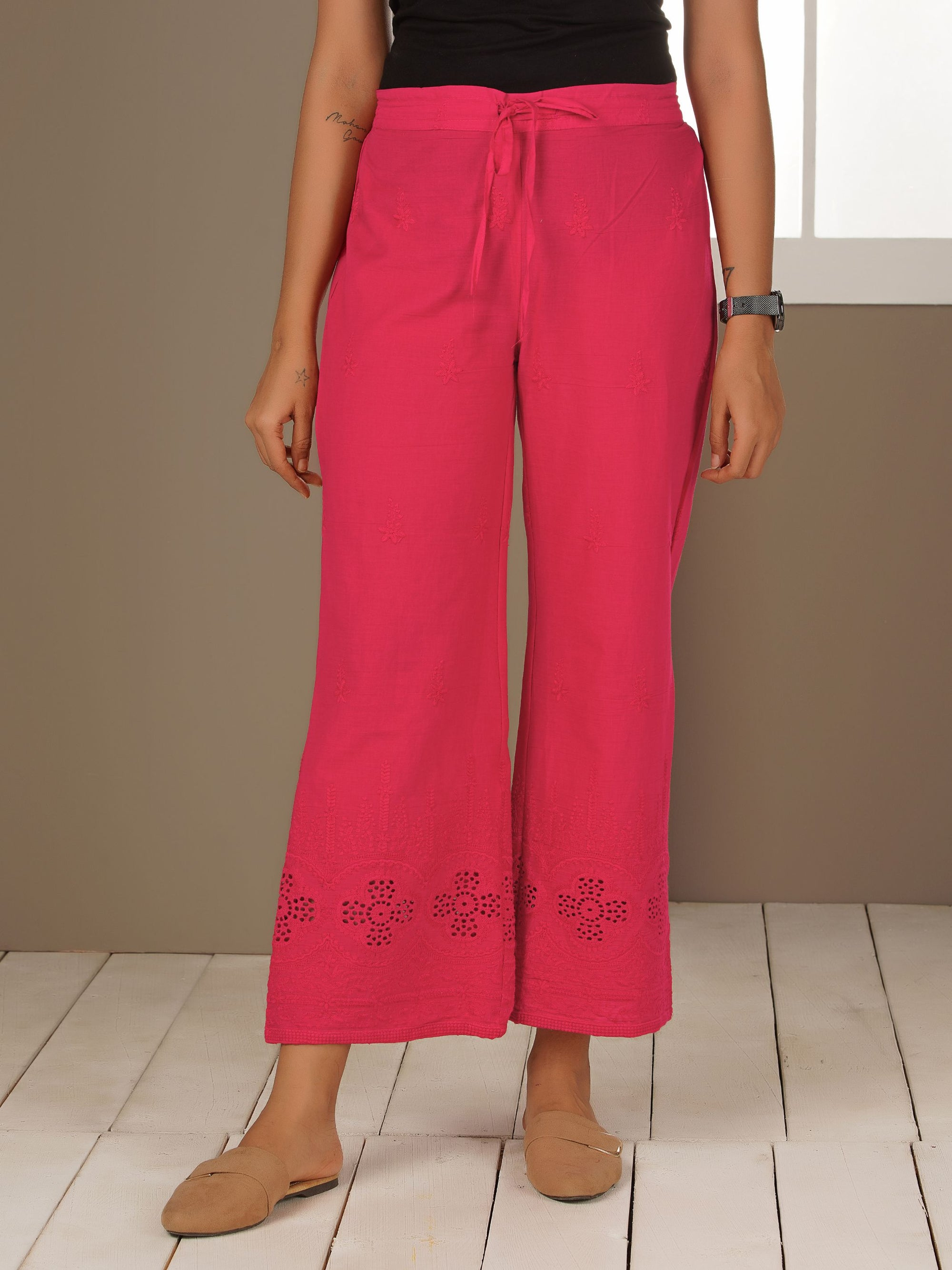 Floral Embroidered Schiffli Palazzo Pants - Pink