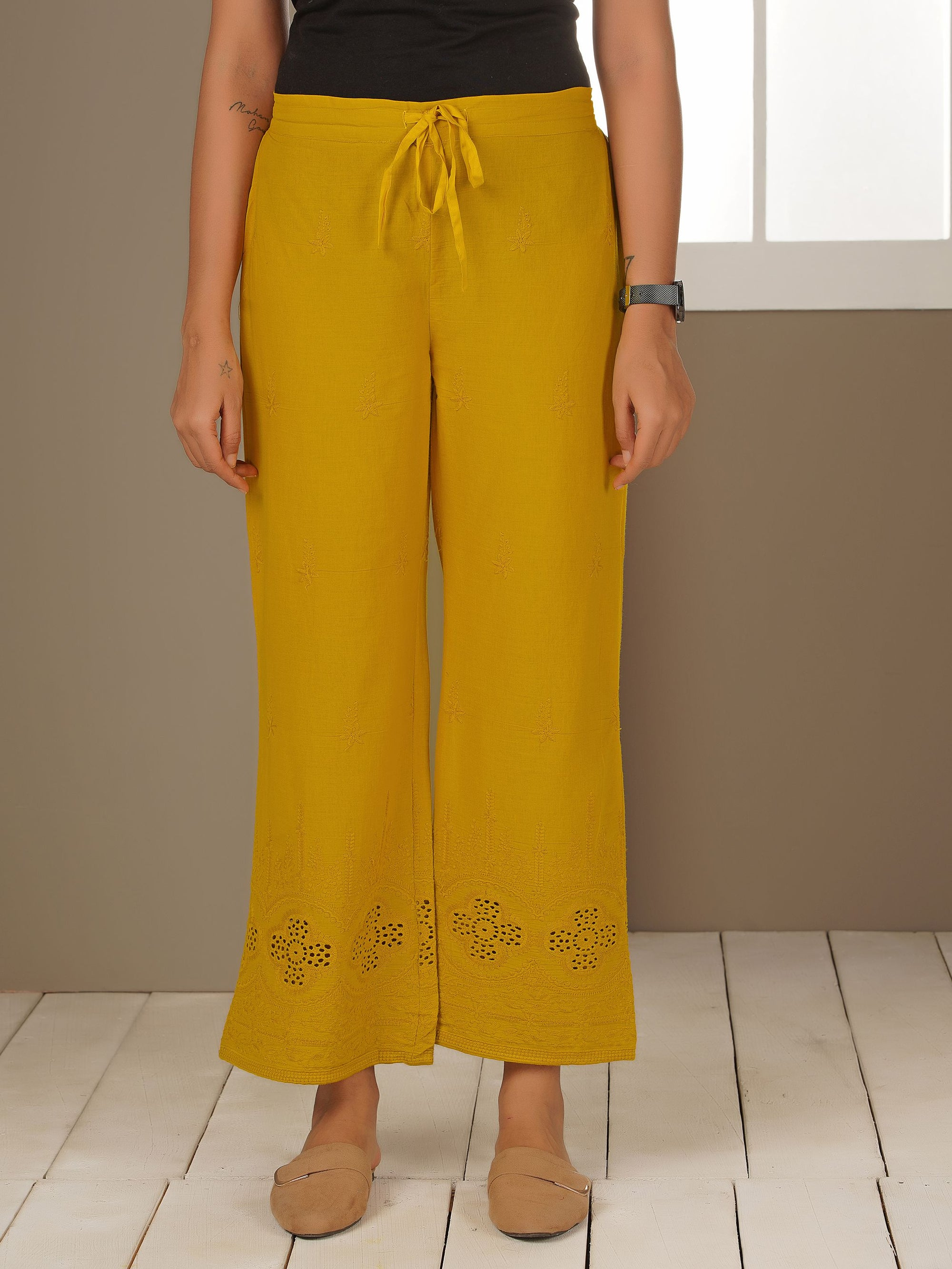 Floral Embroidered Schiffli Palazzo Pants - Mustard