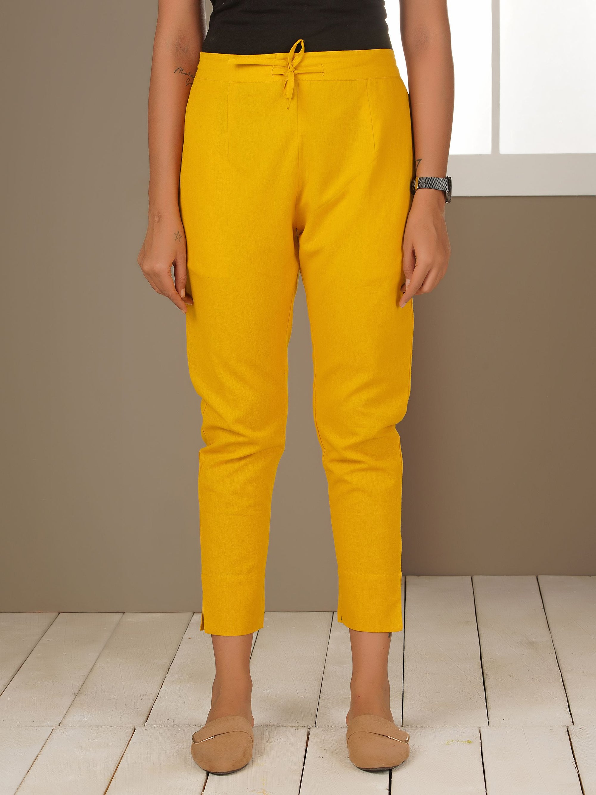 Tapered Cigarette Pants - Mustard Yellow