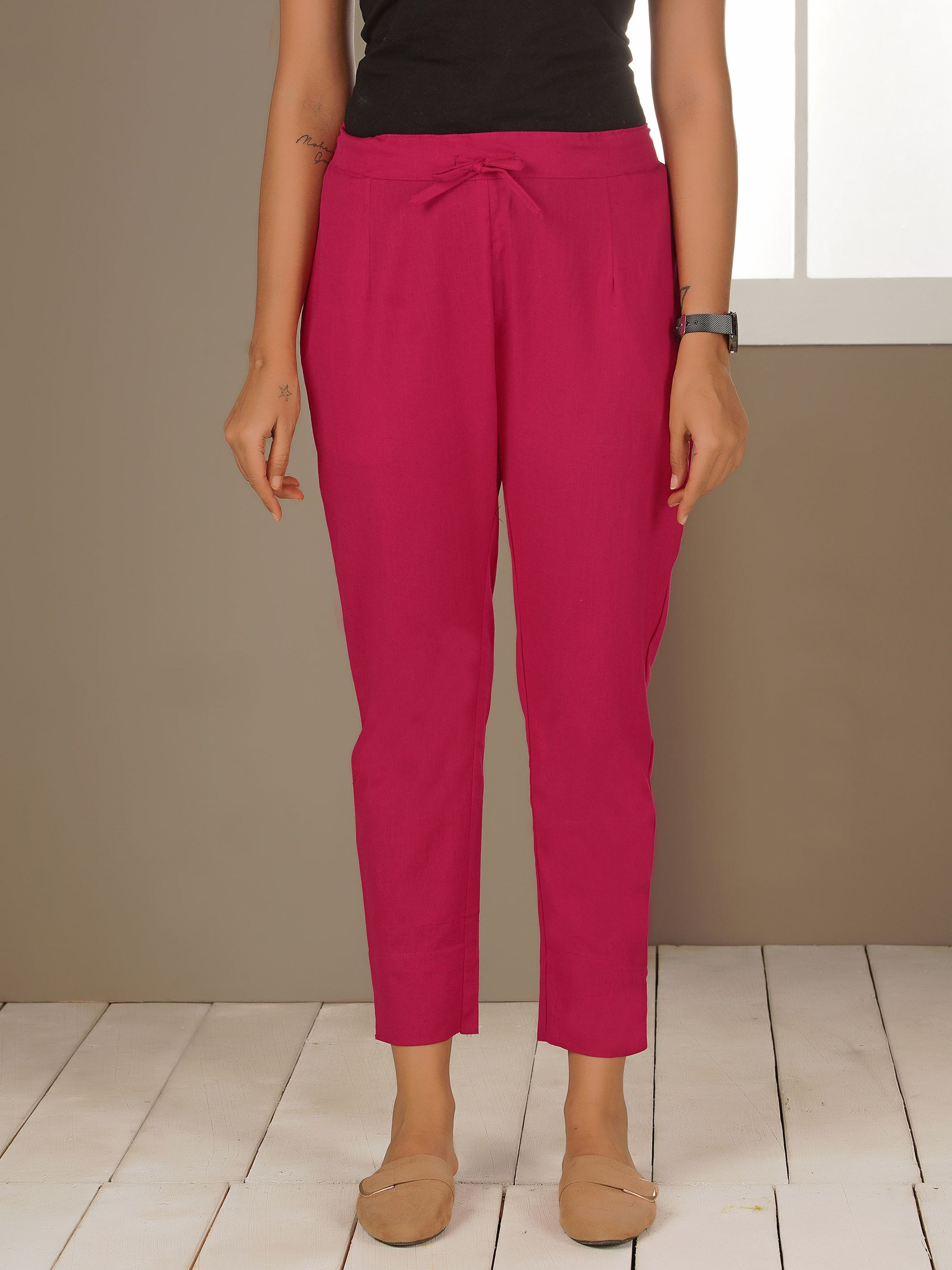 Tapered Cigarette Pants - Rani Pink