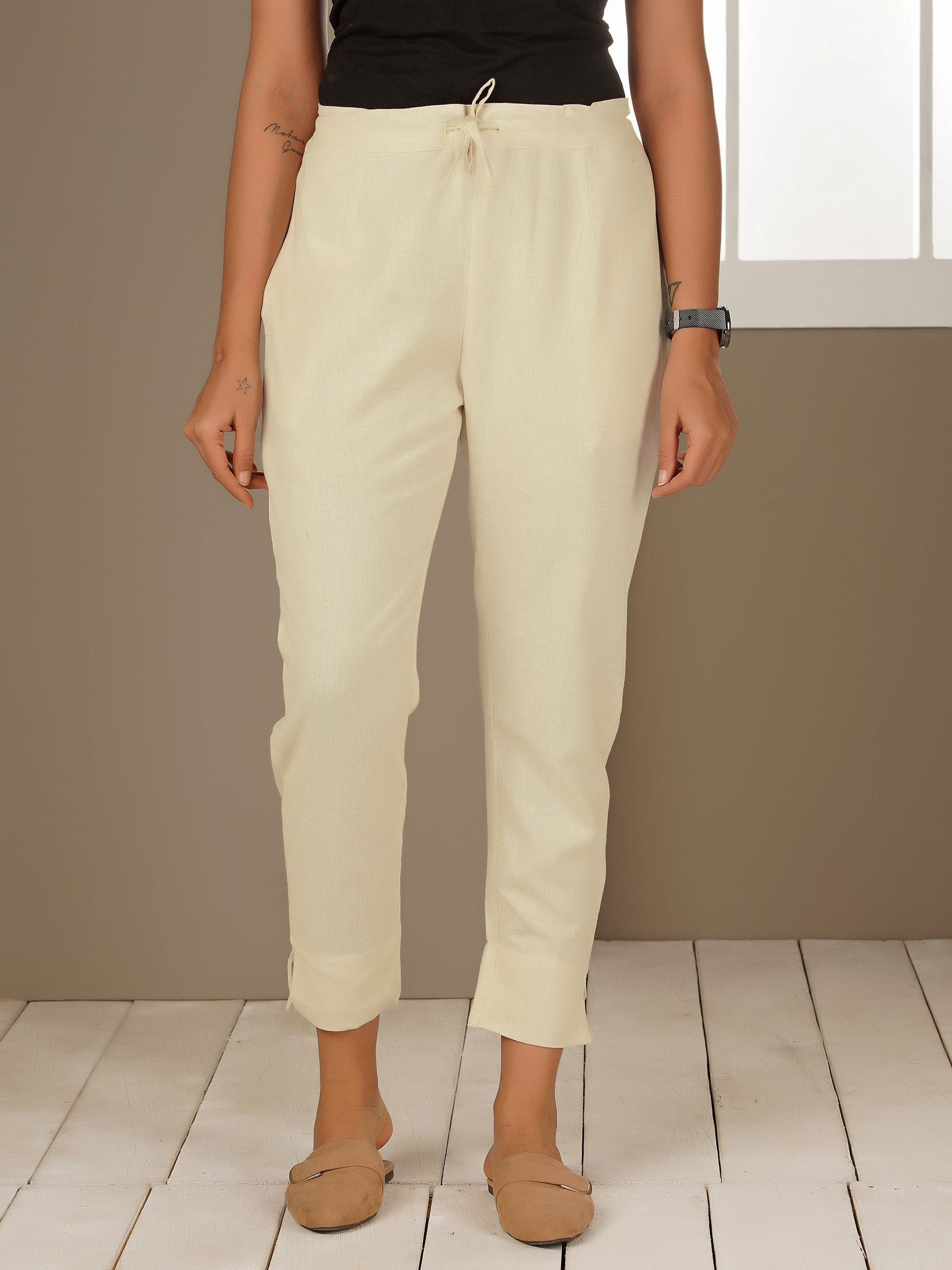 Tapered Cigarette Pants - White