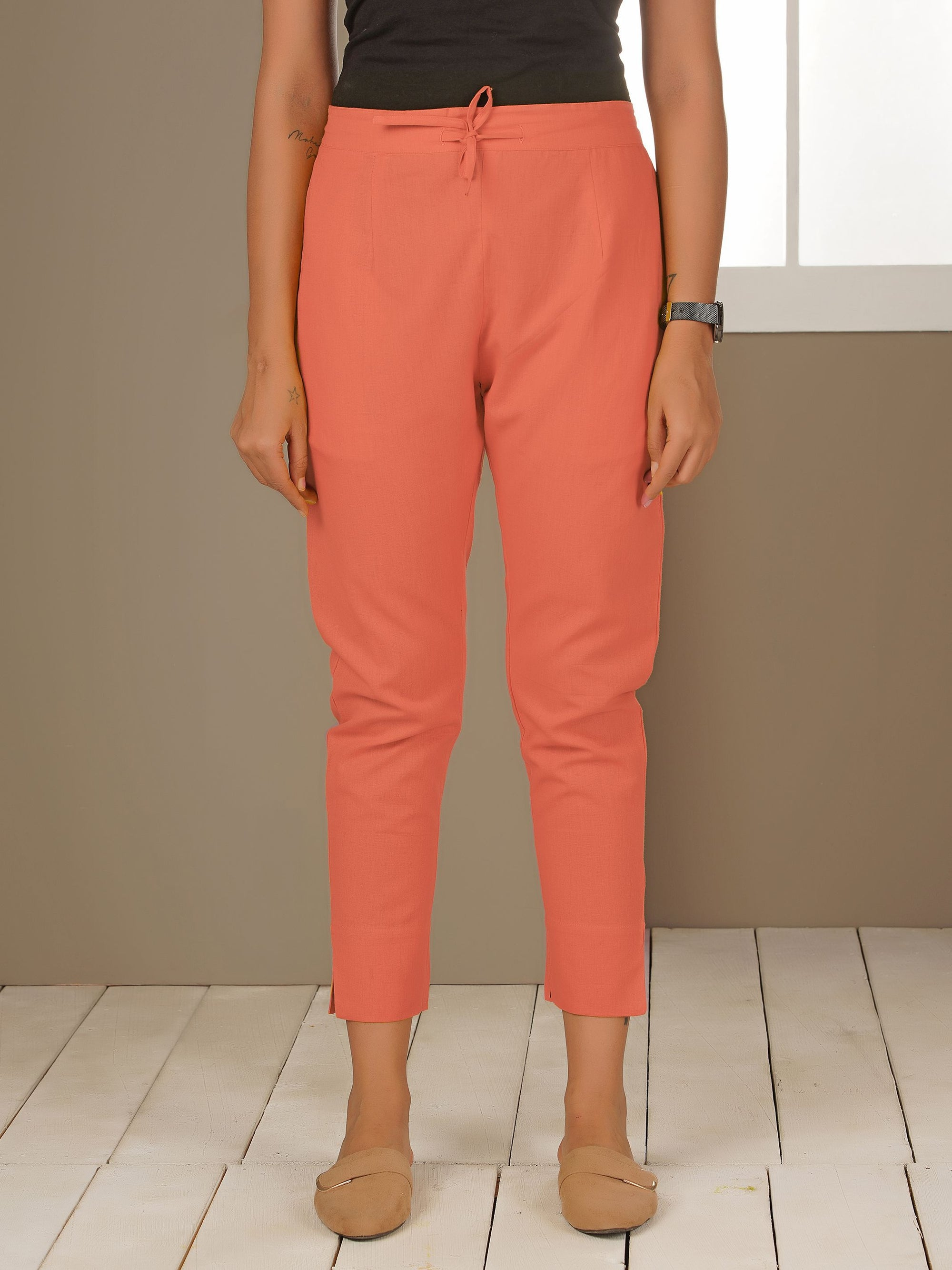 Tapered Cigarette Pants - Pink