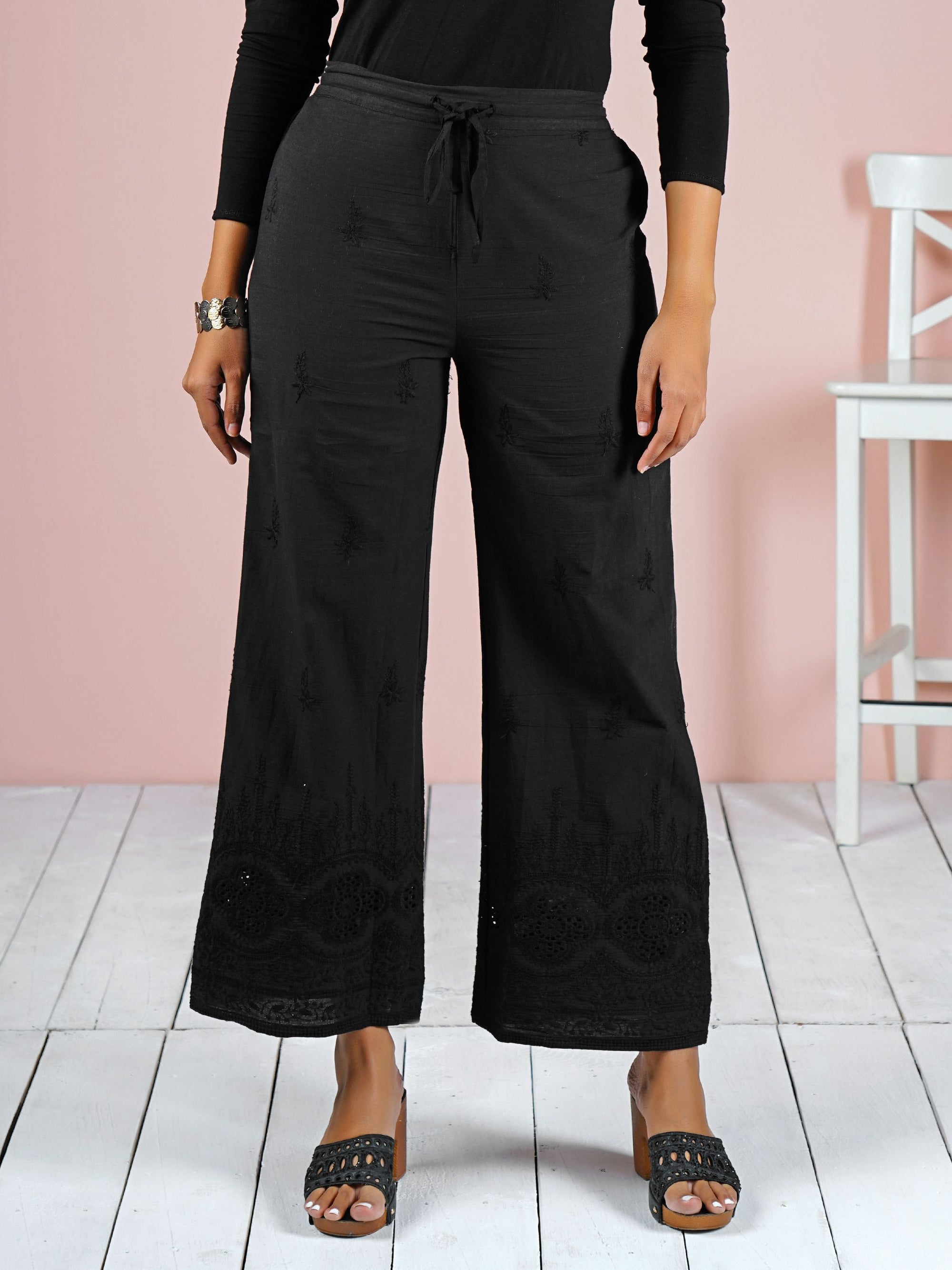 Floral Embroidered Schiffli Palazzo Pants - Black