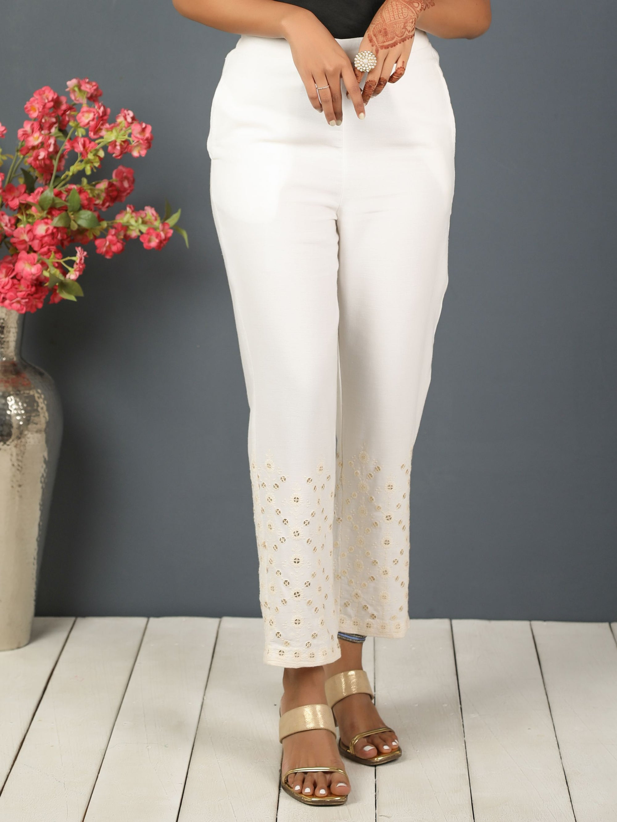Solid Glittery Sequins Embellished Narrow Fit Pant- White