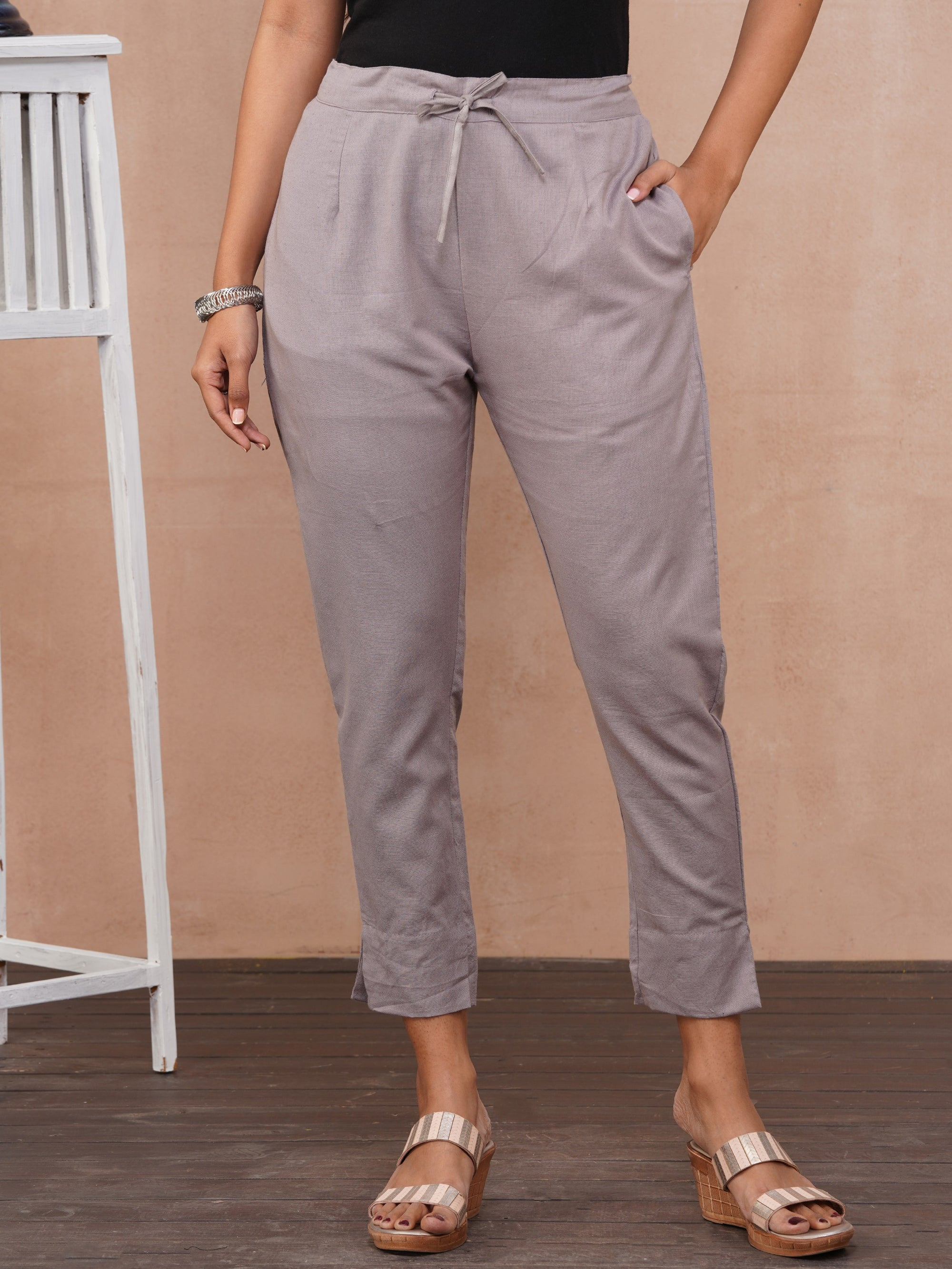 Solid Handloom Straight Fit Pant – Grey