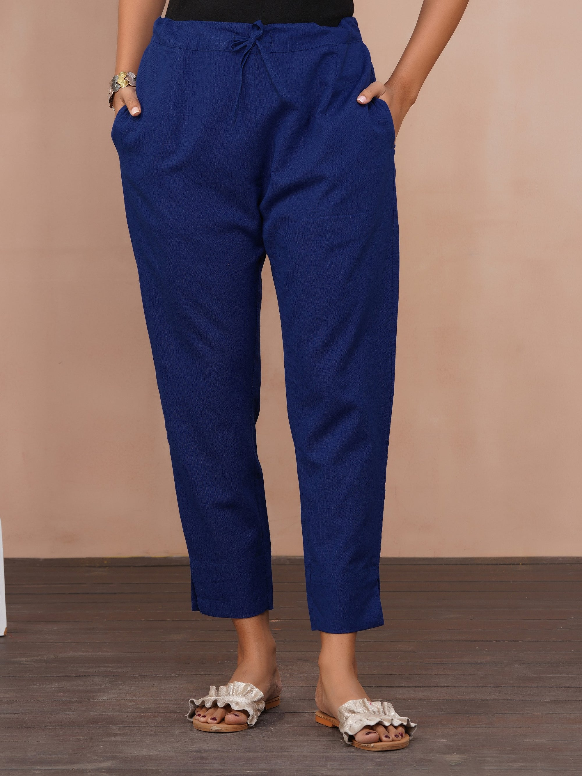 Solid Handloom Straight Fit Pant – Royal Blue