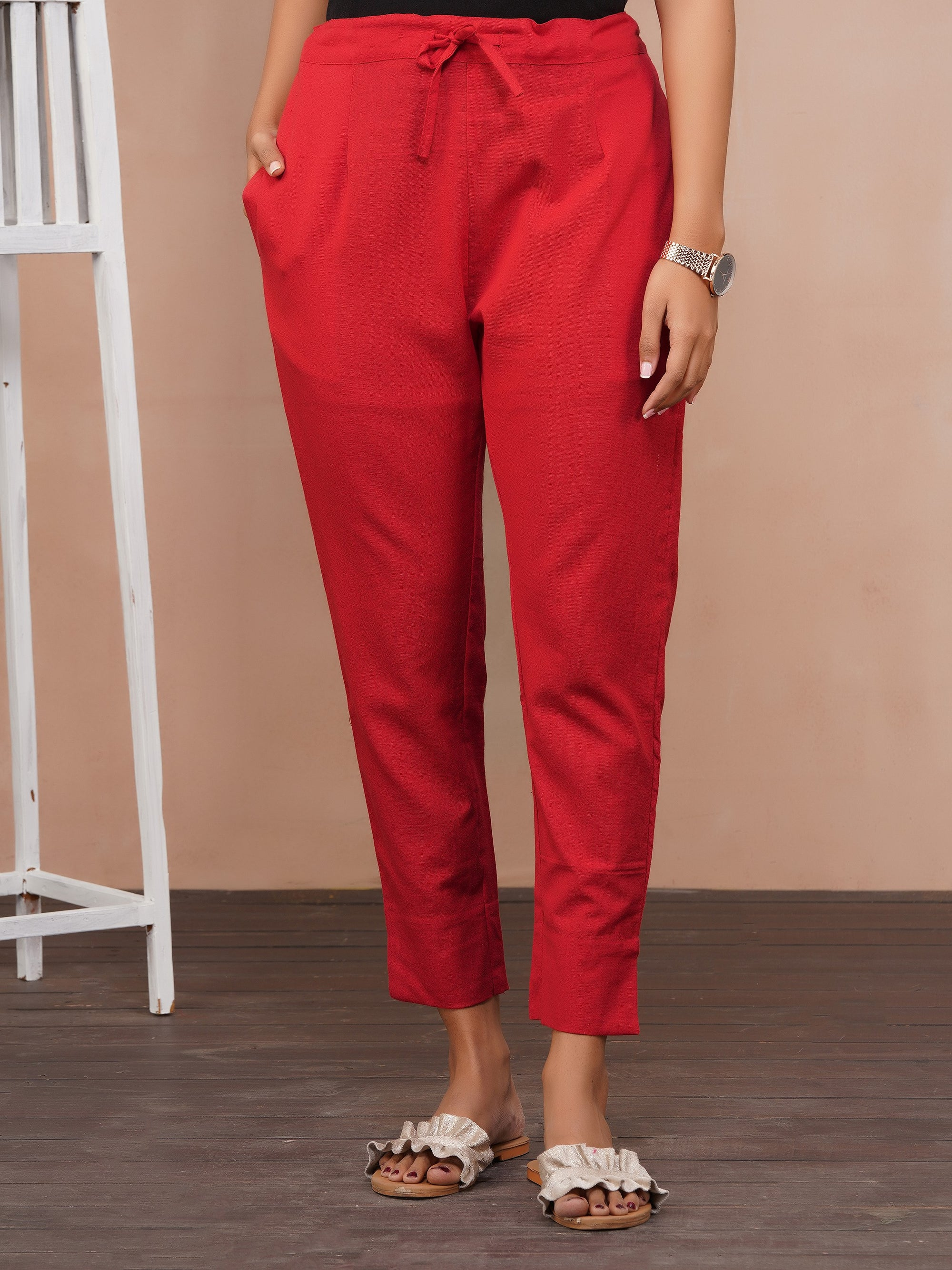 Solid Handloom Straight Fit Pant – Red