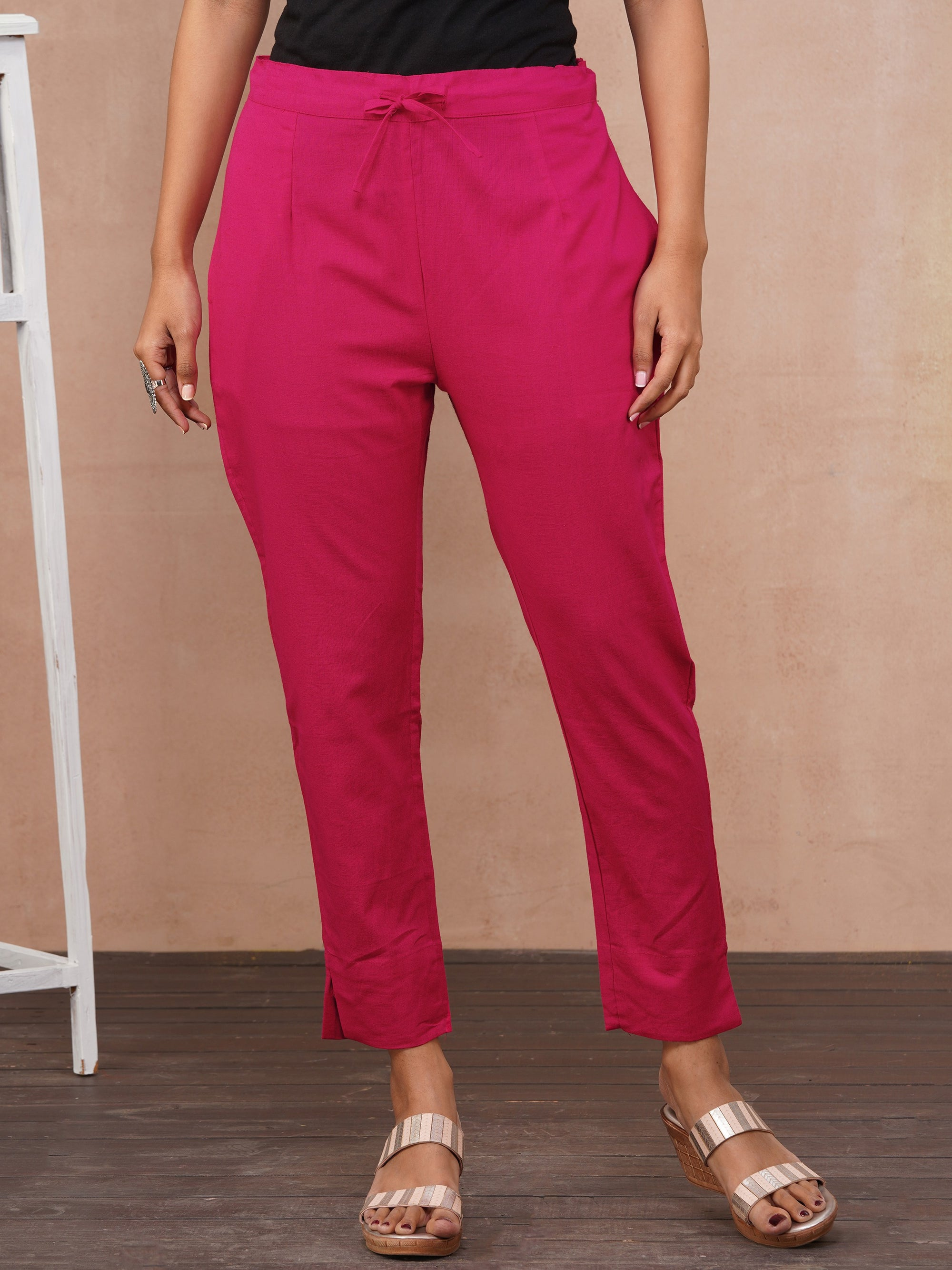 Solid Handloom Straight Fit Pant – Rani Pink