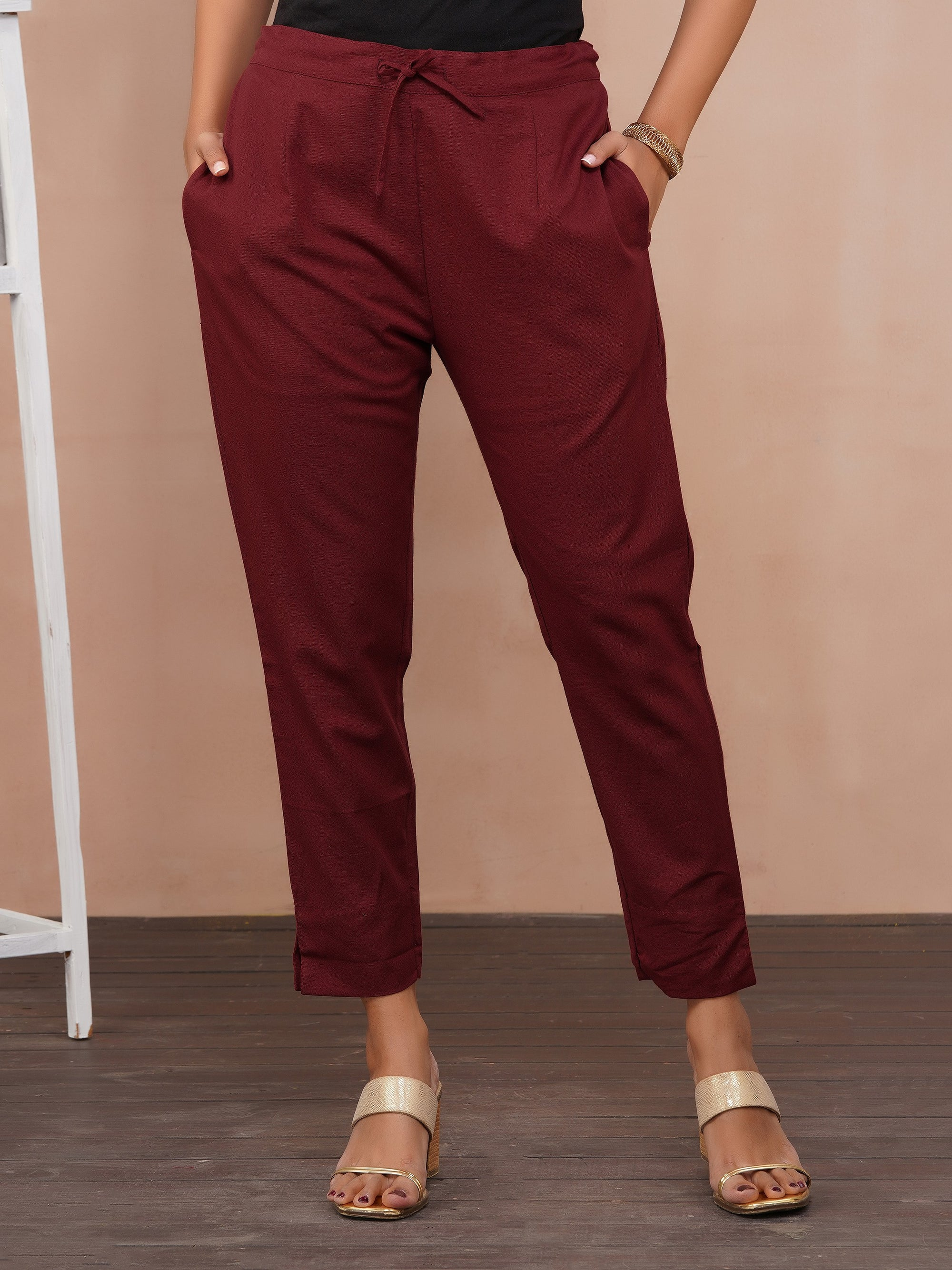 Solid Handloom Straight Fit Pant – Maroon