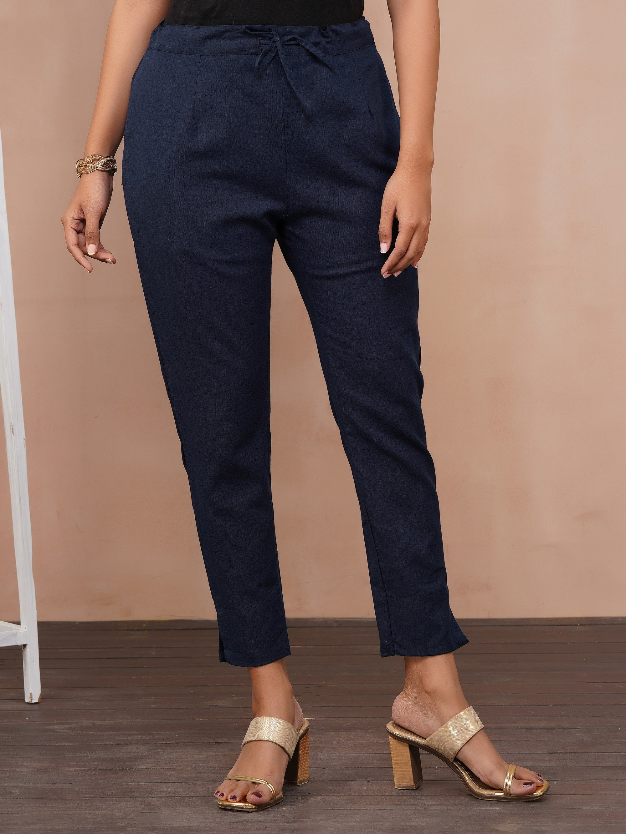 Solid Handloom Straight Fit Pant – Navy Blue