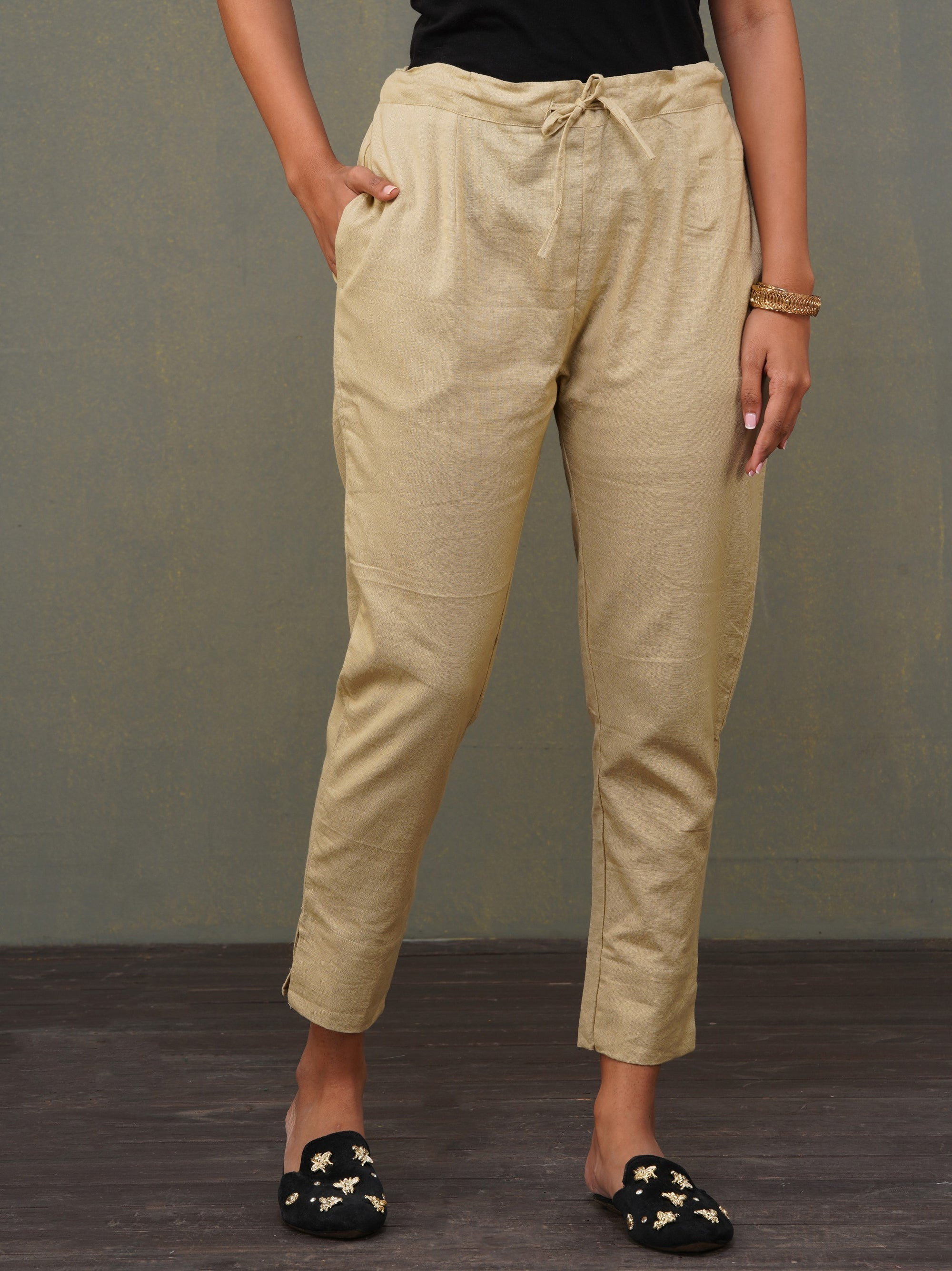 Solid Handloom Straight Fit Pant – Beige
