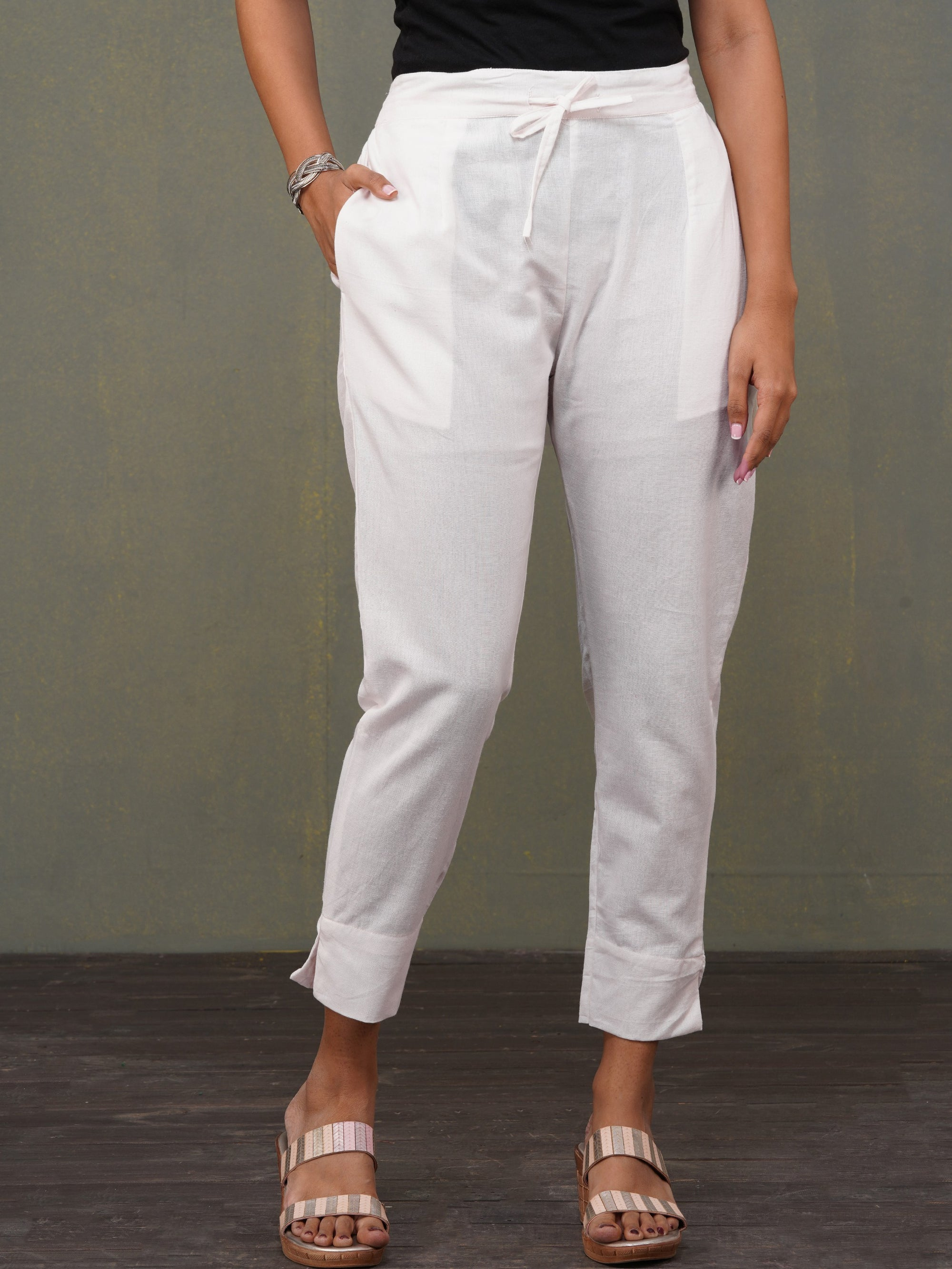 Solid Handloom Straight Fit Pant – Ivory White
