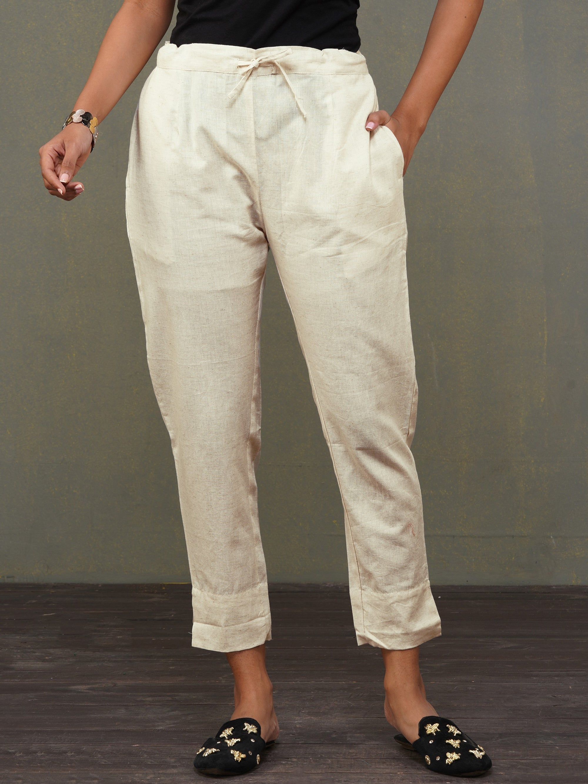 Solid Handloom Straight Fit Pant – Off-White