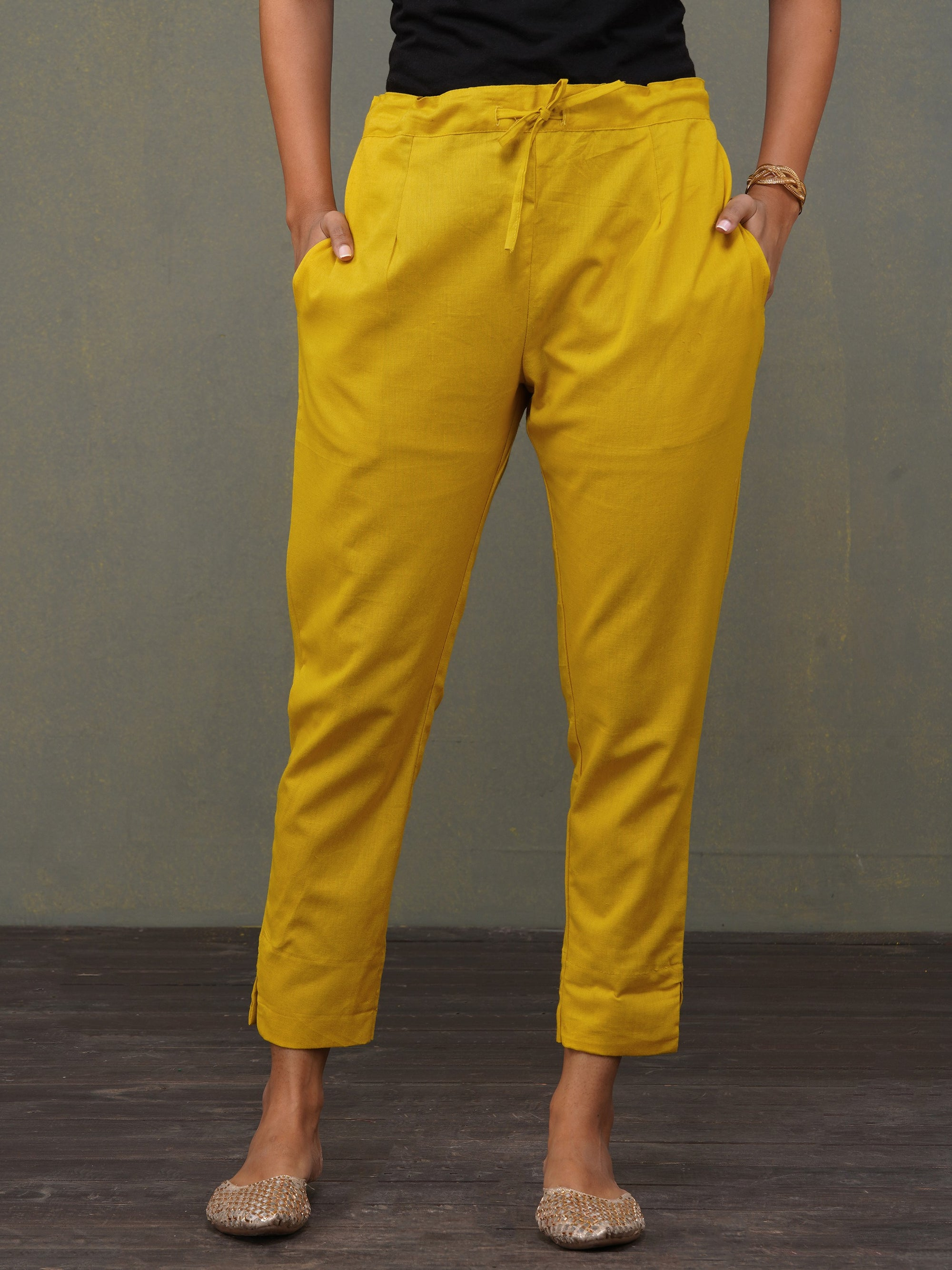Solid Handloom Straight Fit Pant – Mustard