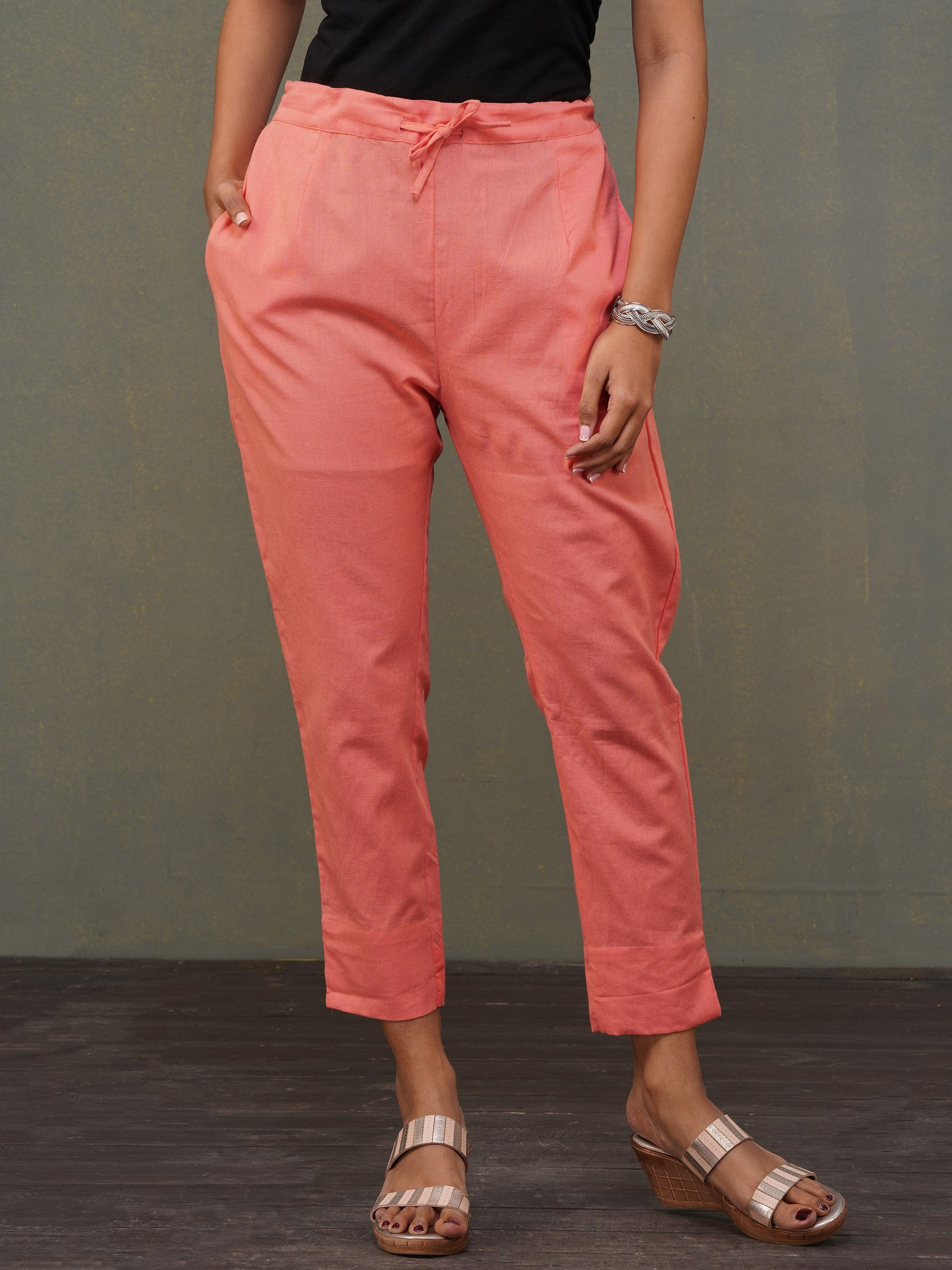 Solid Handloom Straight Fit Pant – Peach