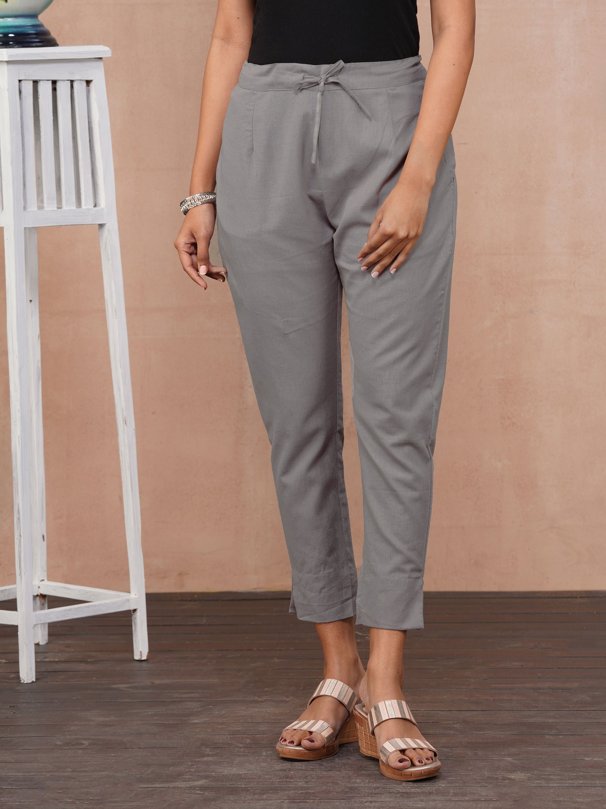 Solid Handloom Straight Fit Pant – Ash Grey