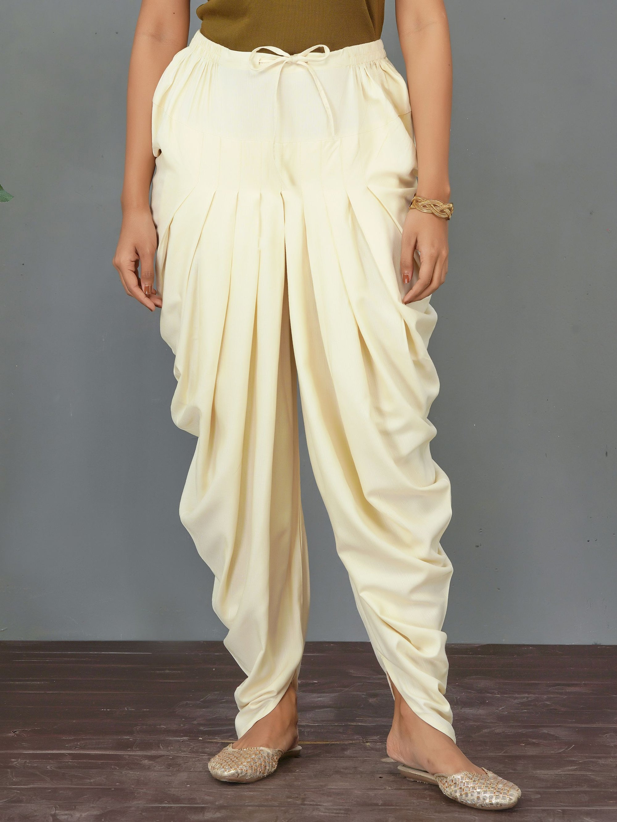 Self Designed Dhoti Pant – Off-White
