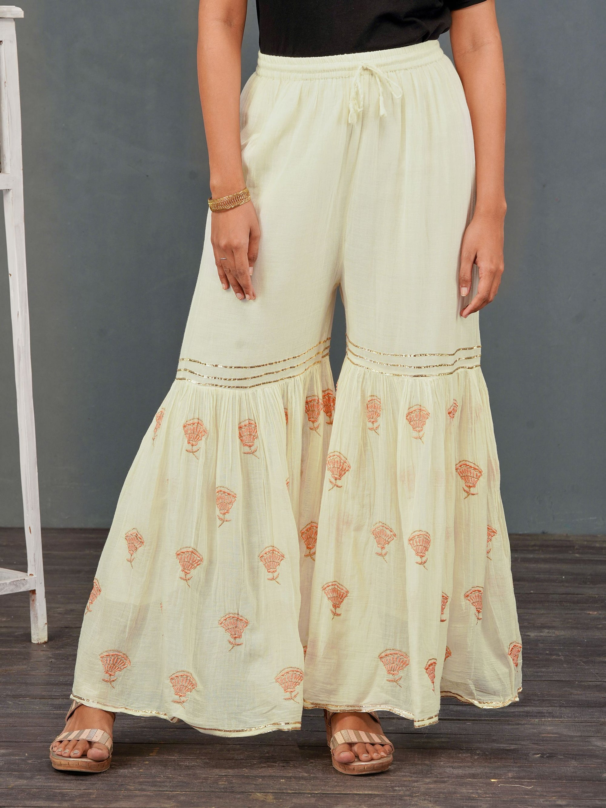 Floral Embroidered & Gota Laced Sharara– Off-White