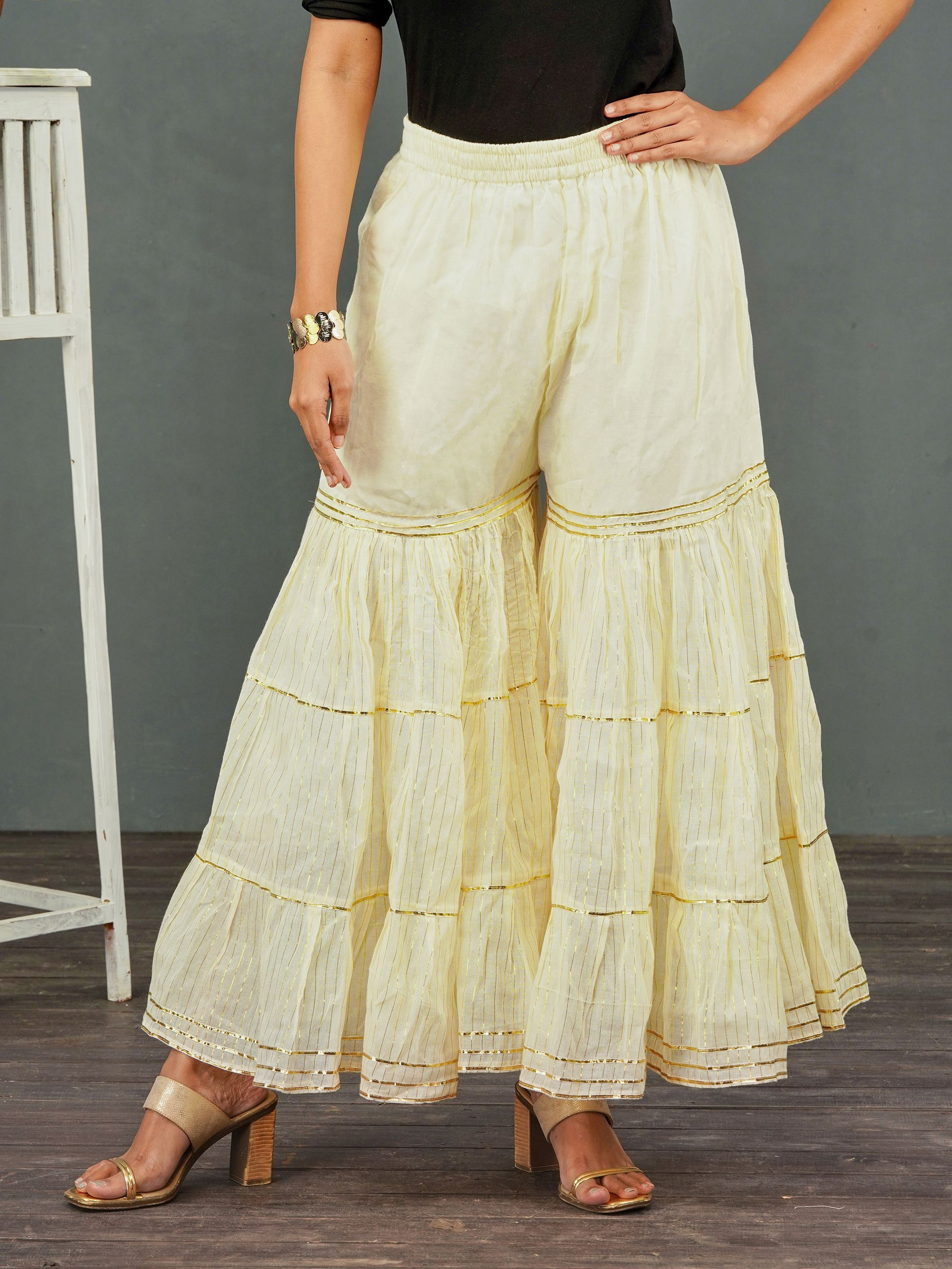 Khari Striped & Gota Laced Sharara– Off-White