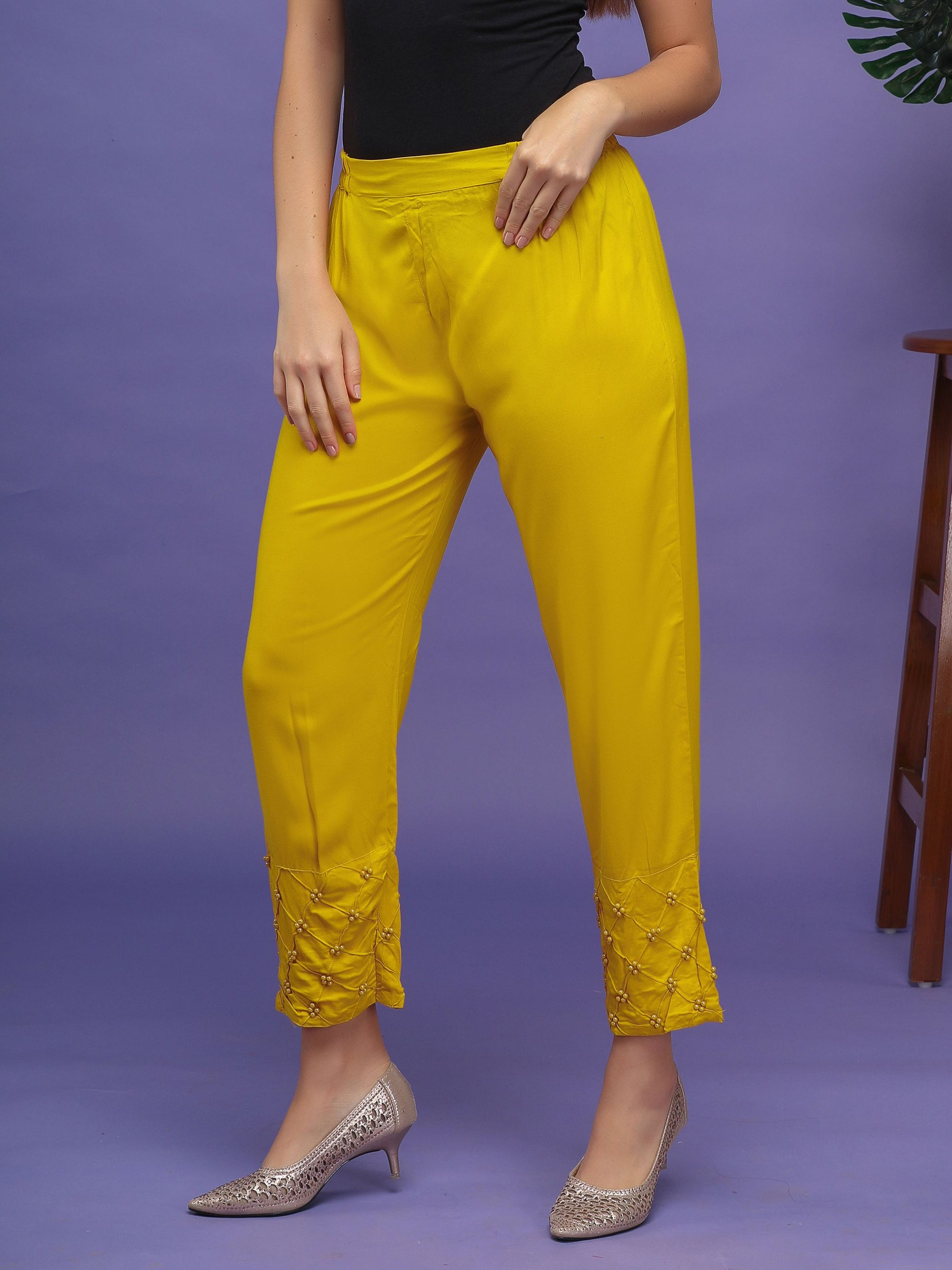 Pearl Ornamentation Laced Pants– Mustard Yellow