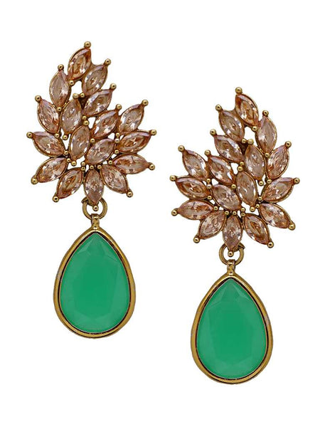 Marquise Ad & Sea Green Pear Stone Drop Earrings-SEA GREEN