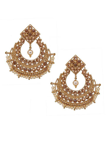 Pearl & Ad Studded Chandbali Earrings
